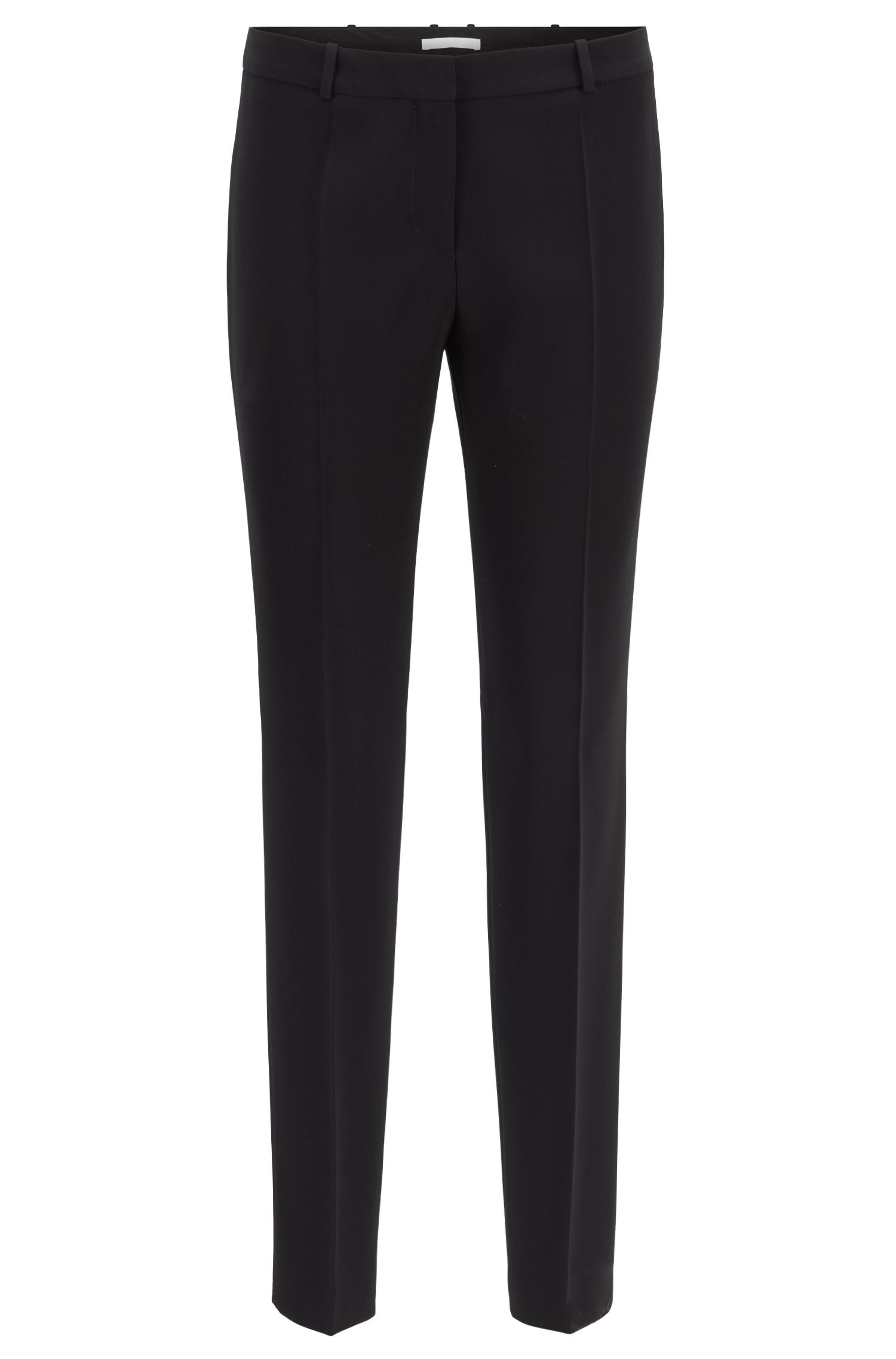 Slim-fit trousers in crease-resistant Japanese crepe, Black