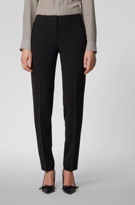 Slim-Fit Hose aus knitterfreiem japanischem Krepp, Schwarz