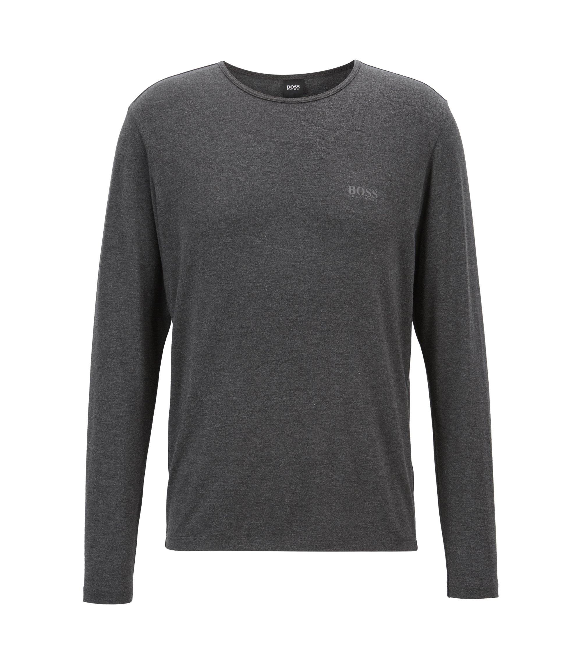 Camiseta de manga larga slim fit en tejido ligero y aislante, Negro