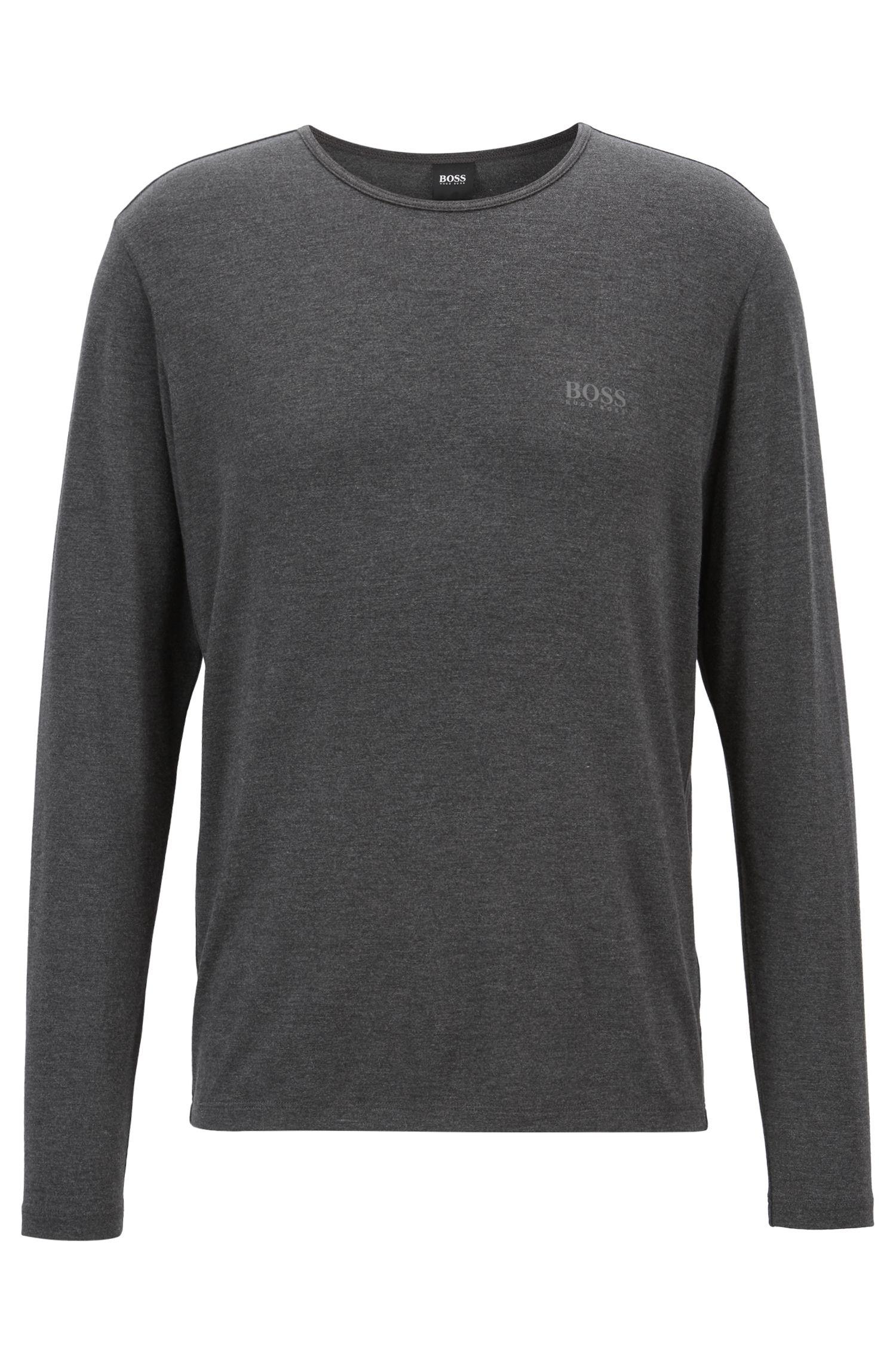 Slim-fit T-shirt met lange mouwen van een licht en isolerend materiaal, Zwart