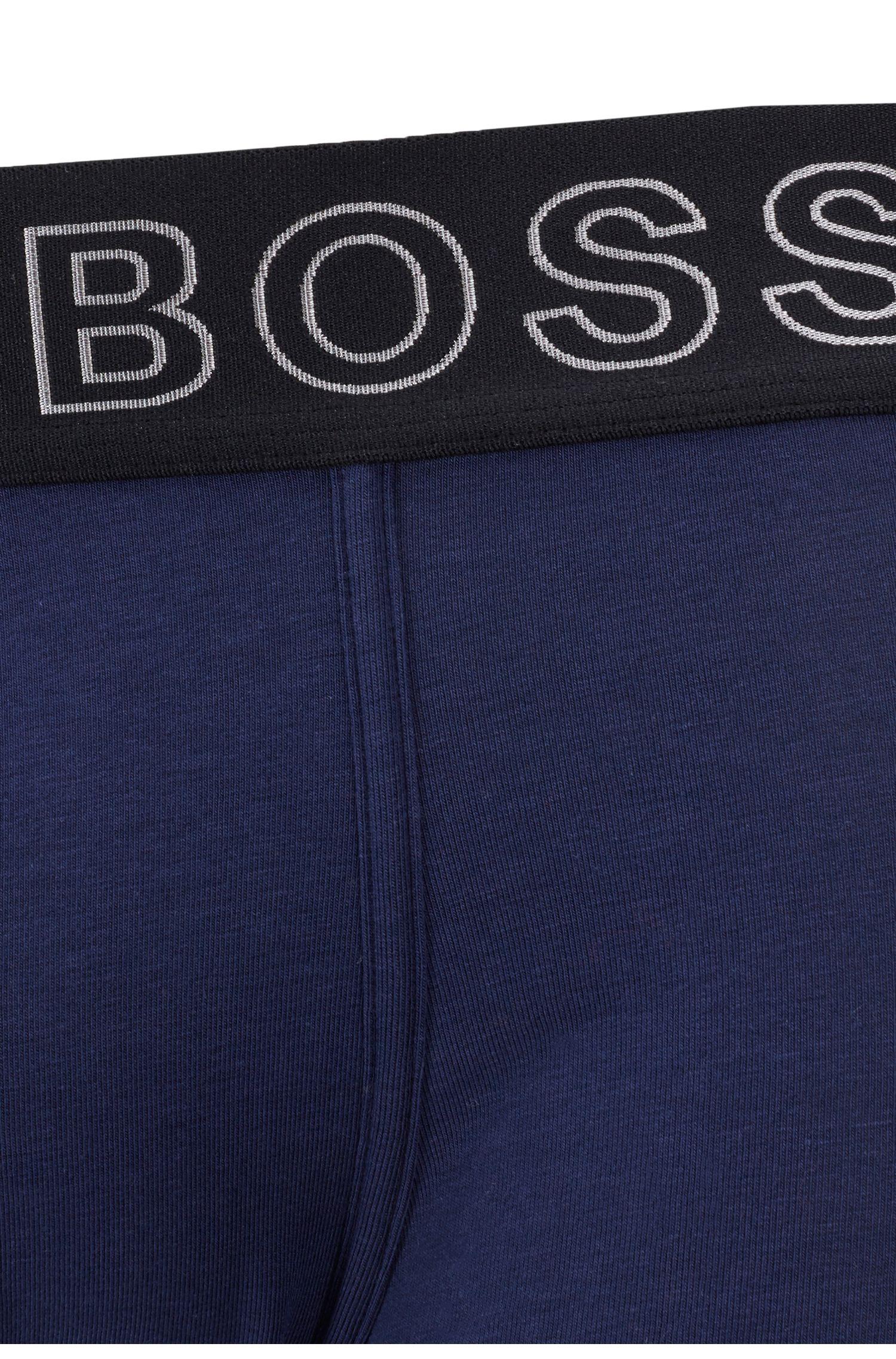 Boxer court coupe droite, à coutures ergonomiques et taille logo, Bleu foncé