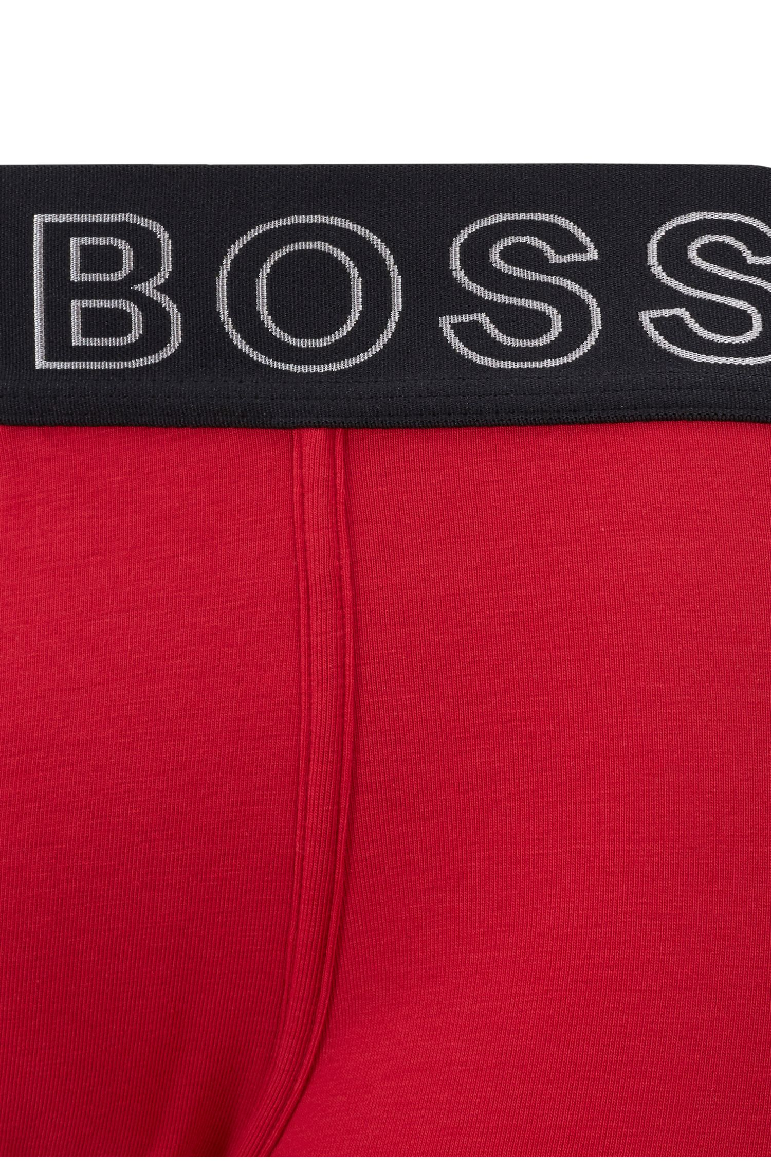 Straight-cut trunks with logo waistband and ergonomic seaming, Red