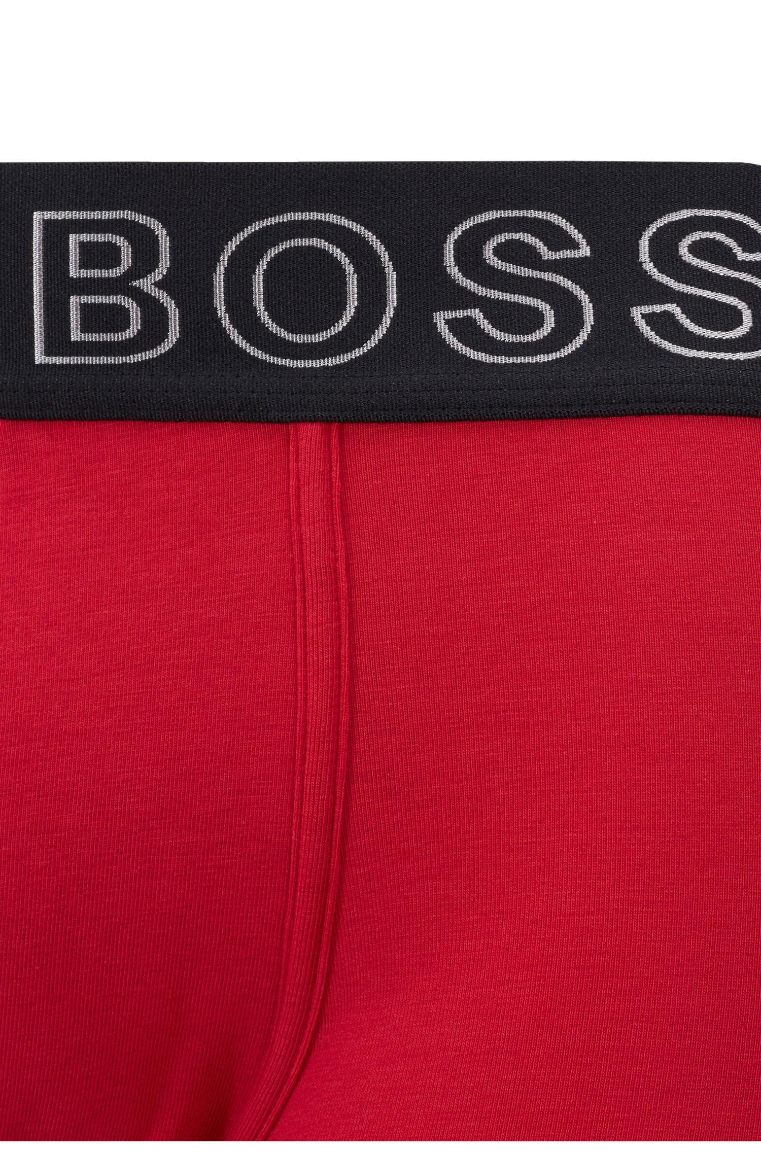 Boxer court coupe droite, à coutures ergonomiques et taille logo, Rouge