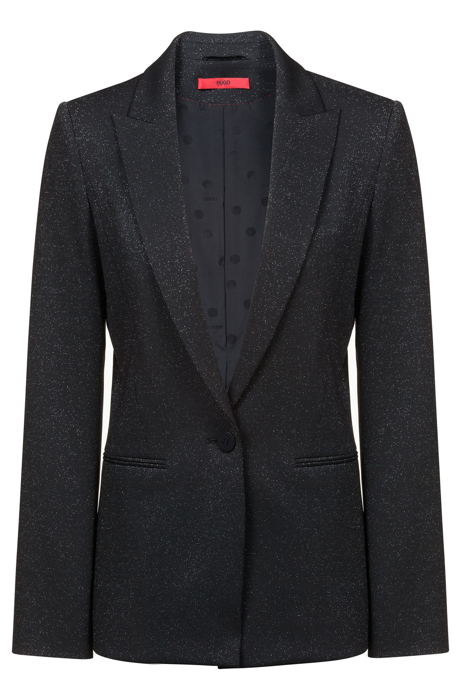 Regular-fit blazer van glinsterend jerseymateriaal met stretch, Bedrukt