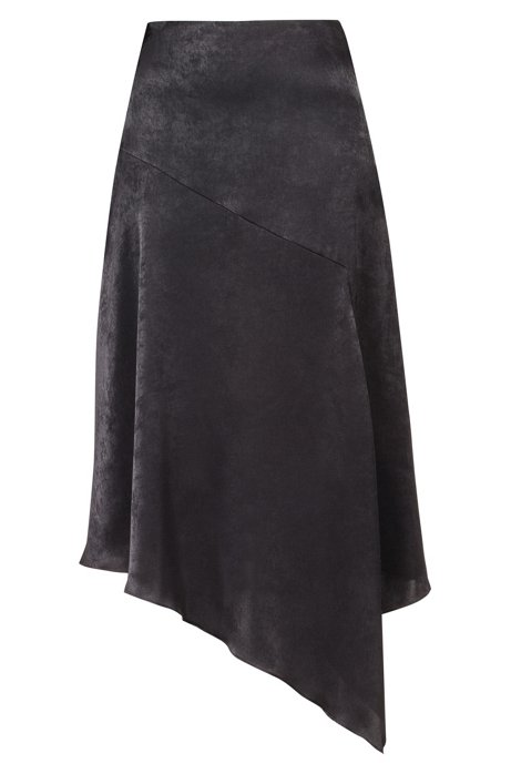 Regular-fit skirt with asymmetric hemline, Black
