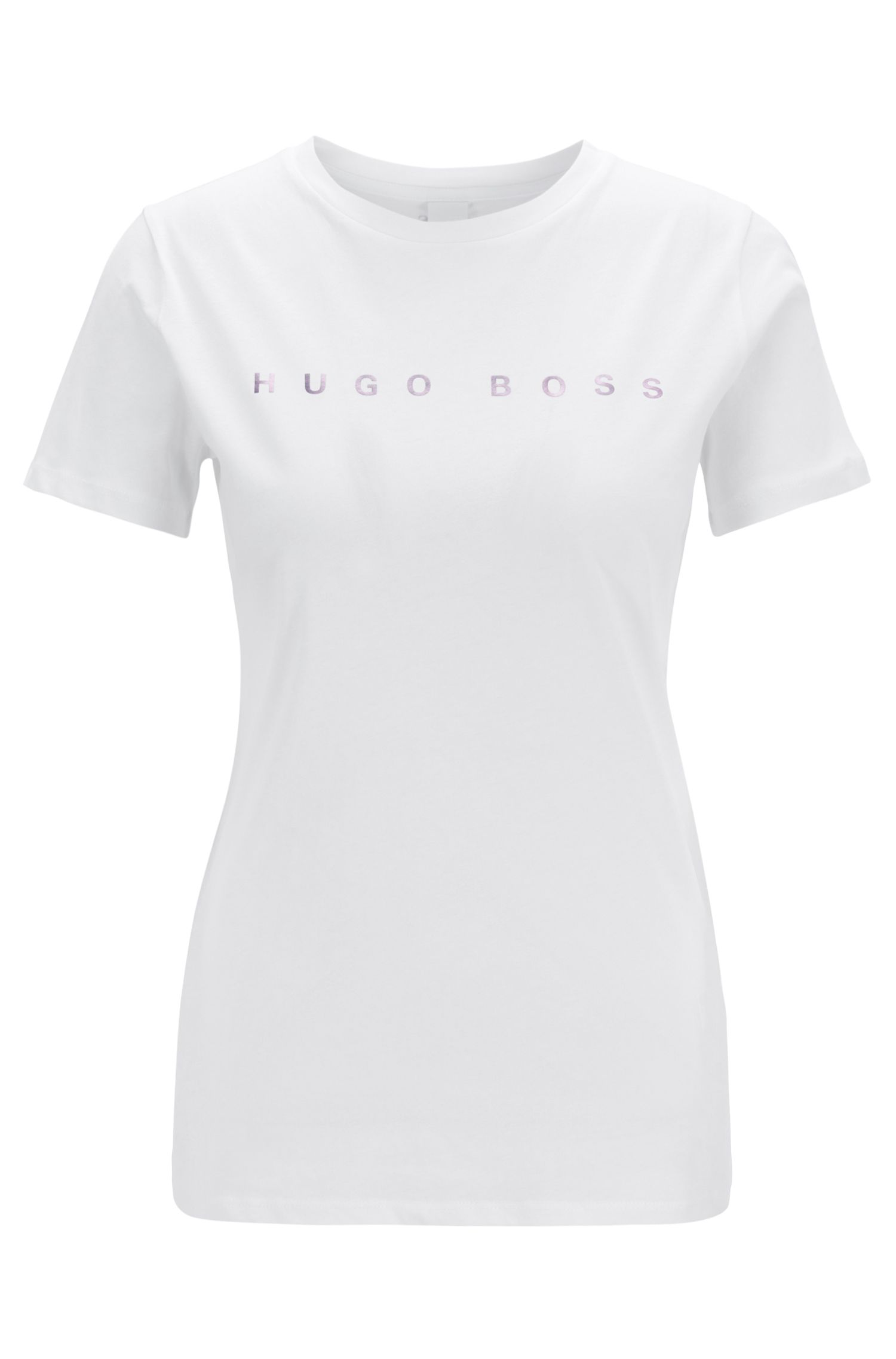 Cotton-jersey T-shirt with iridescent logo print, White