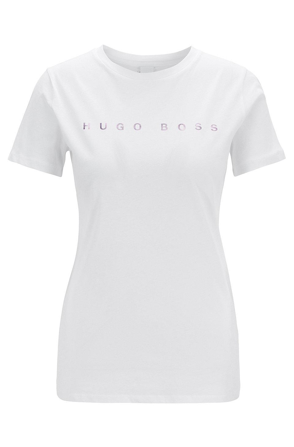8ffe0e72b BOSS - Cotton-jersey T-shirt with iridescent logo print