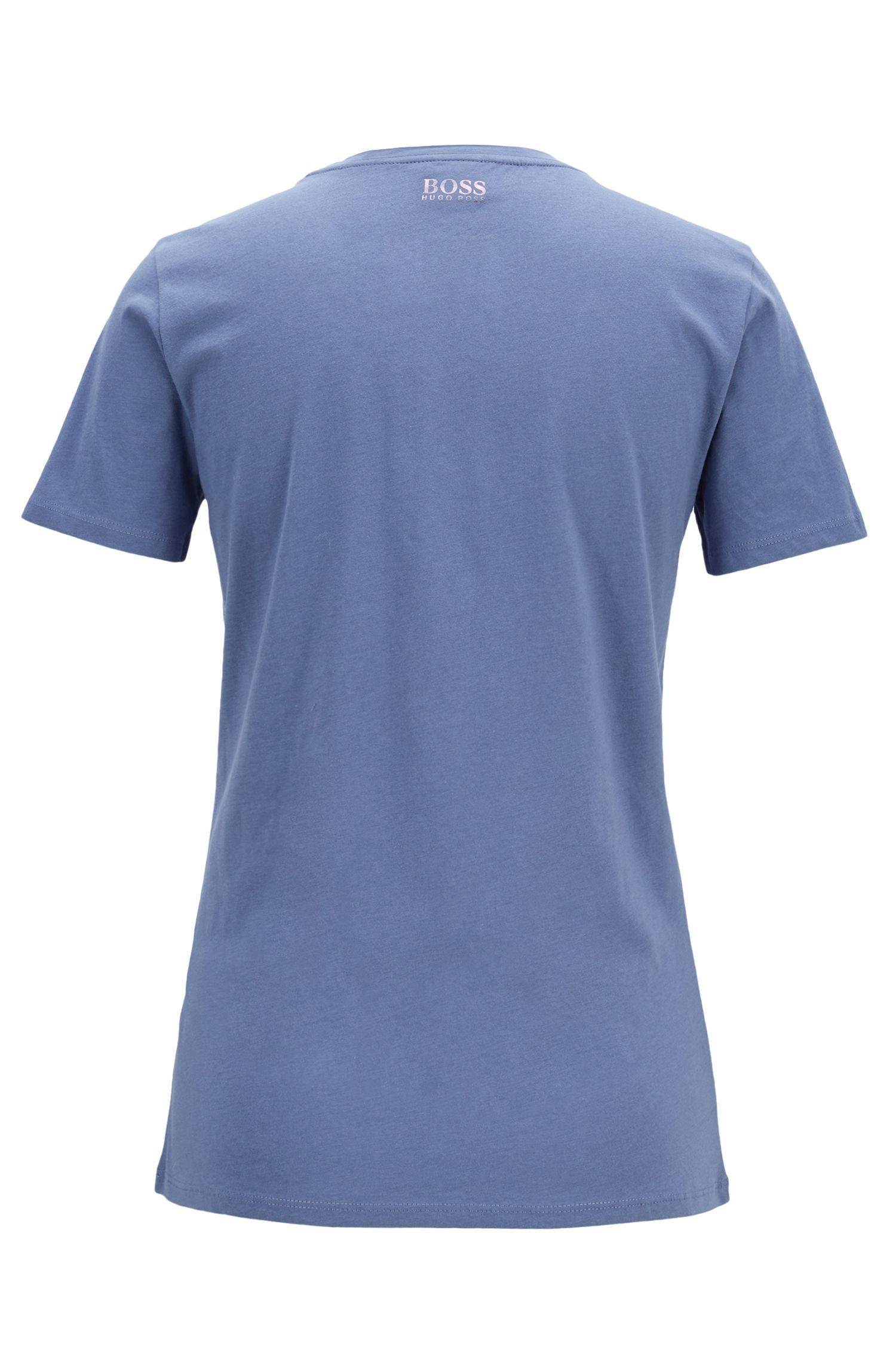 Cotton-jersey T-shirt with iridescent logo print, Blue