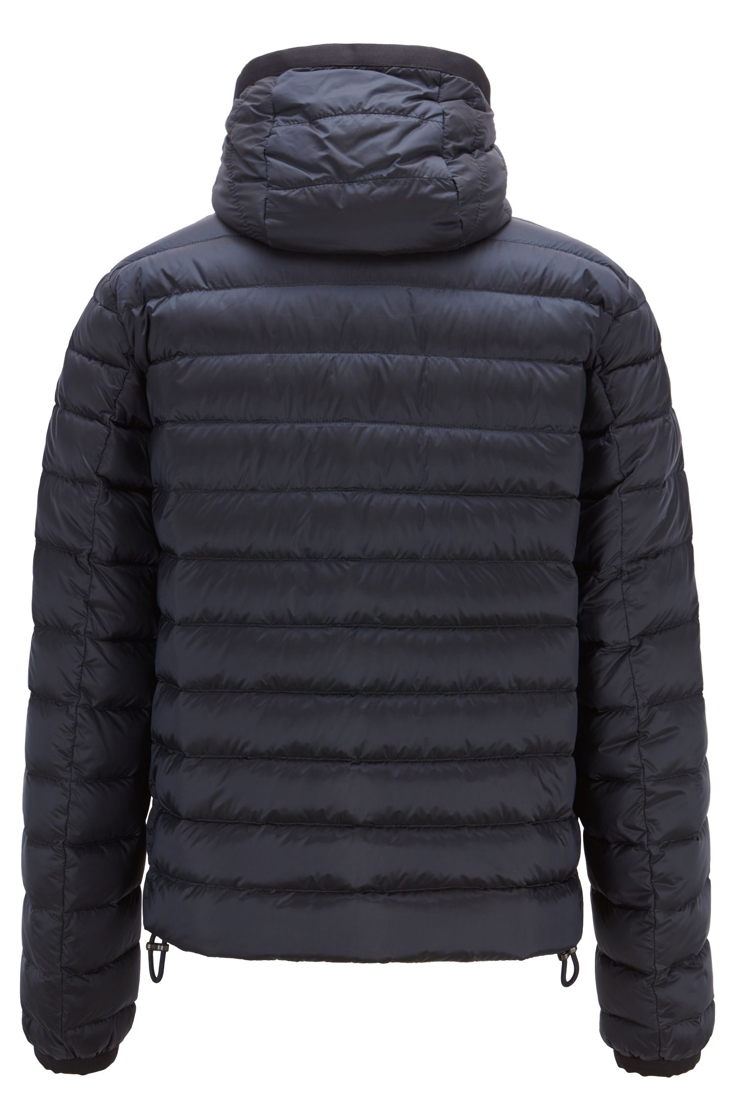 Hooded blouson jacket in down-filled water-repellent fabric, Dark Blue