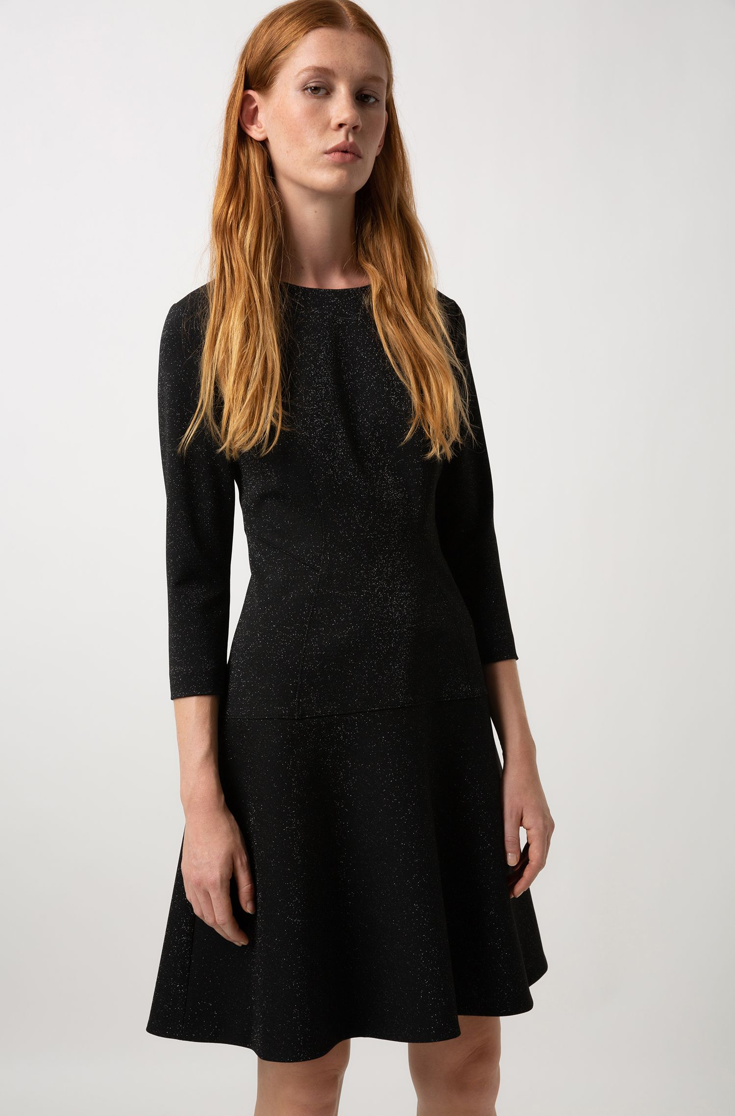 Regular-fit dress in sparkly fabric with long sleeves, Patterned