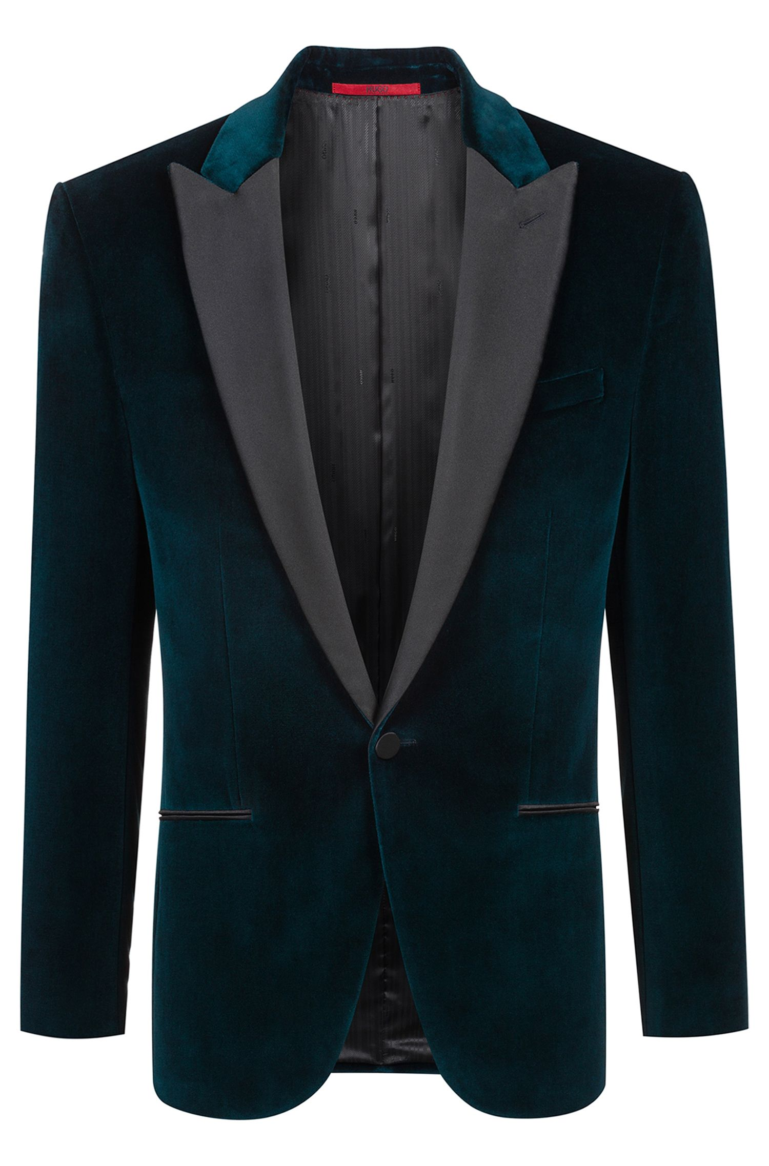 Giacca da smoking slim fit in velluto con revers a lancia, Verde scuro
