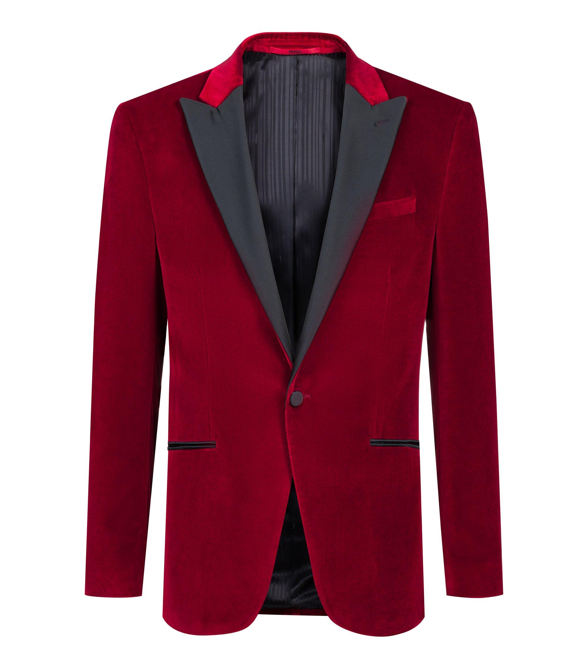 Slim-Fit Smokingjacke aus Samt mit steigendem Revers, Rot