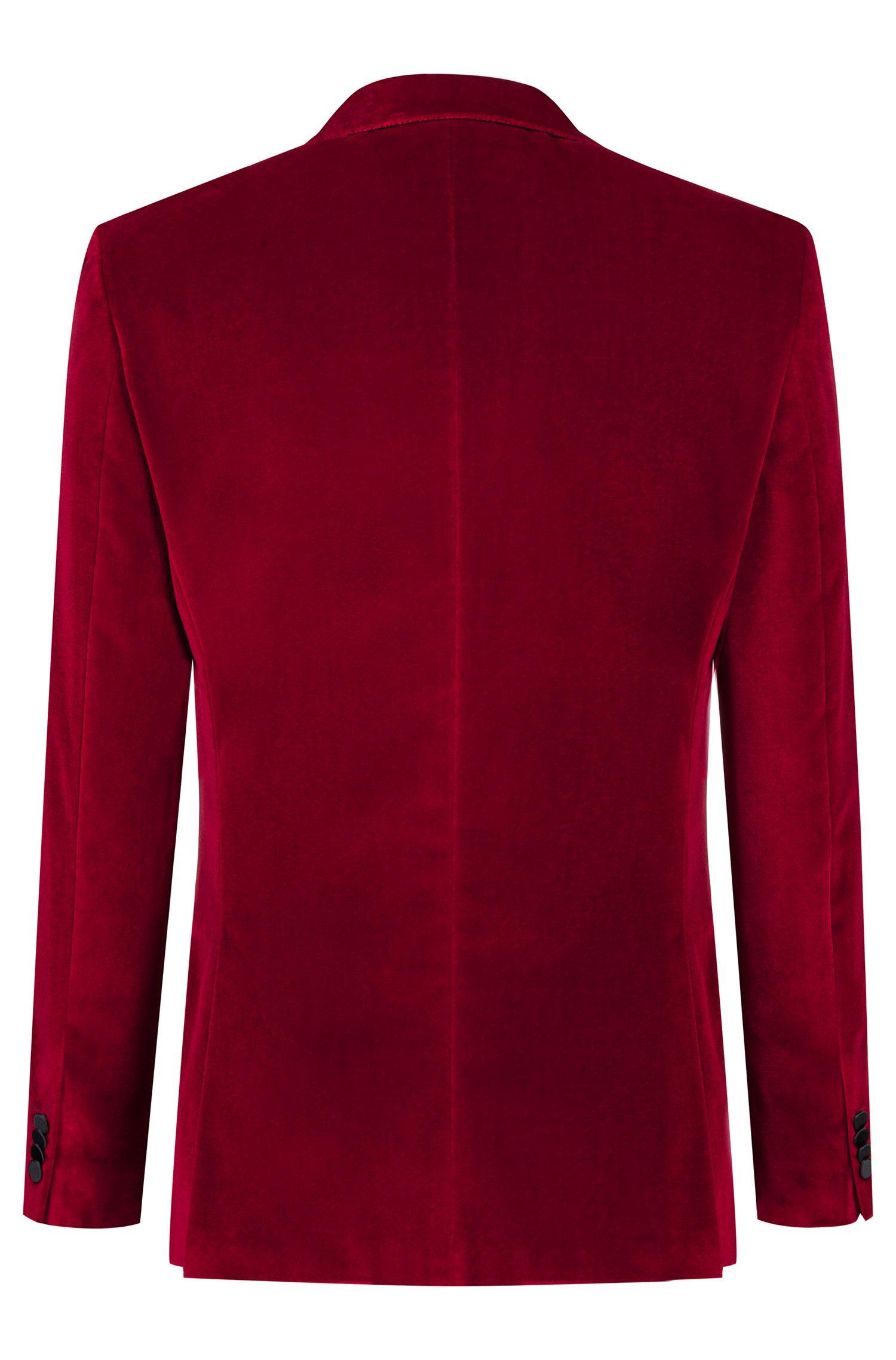 Slim-fit dinner jacket in velvet with peak lapels, Red