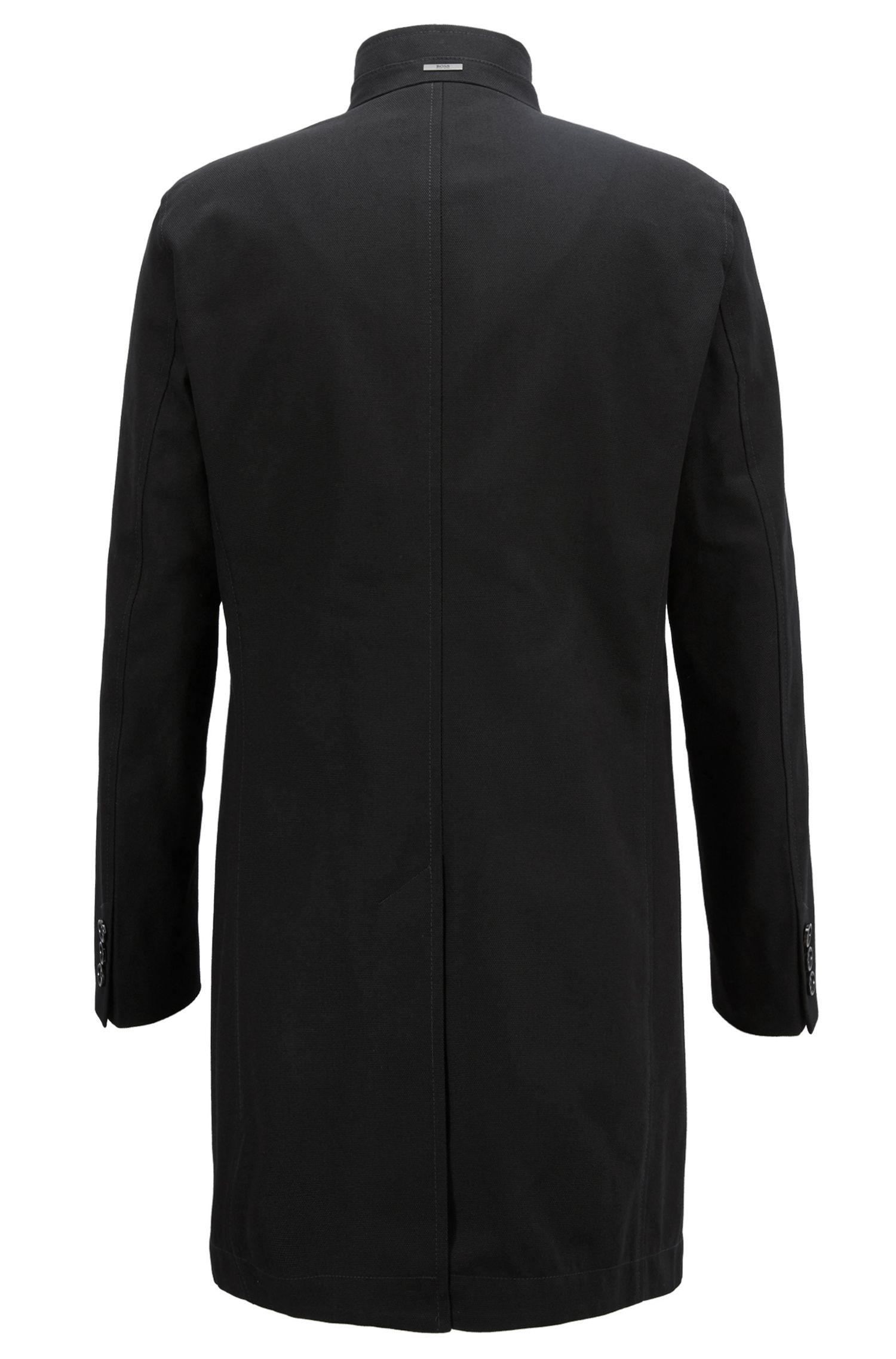 Slim-Fit Mantel aus wasserabweisender Baumwolle, Schwarz