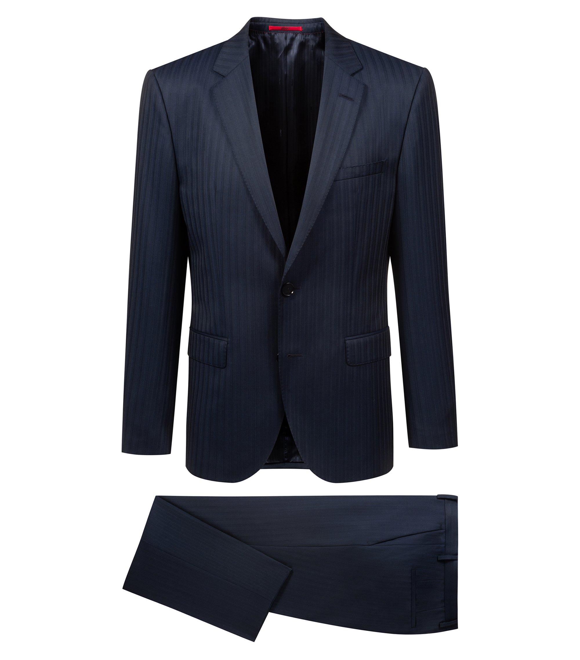 Regular-Fit Anzug aus Schurwoll-Mix mit Nadelstreifen, Dunkelblau