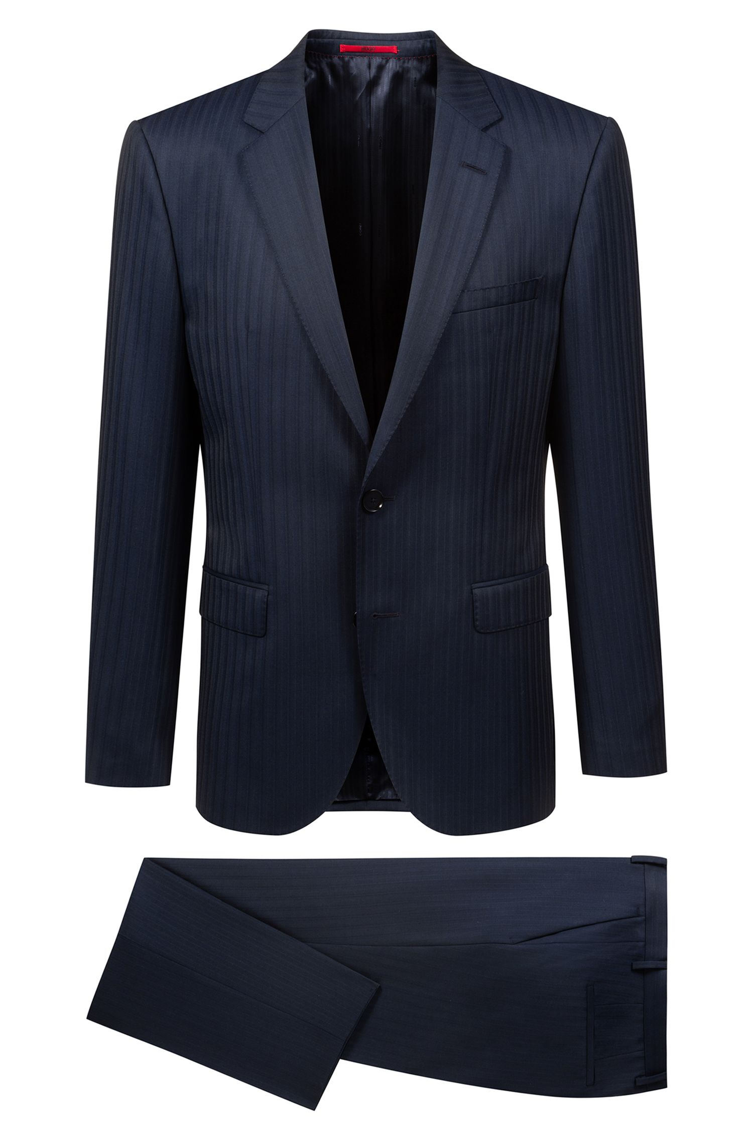 Regular-fit suit in a pinstripe virgin-wool blend, Dark Blue