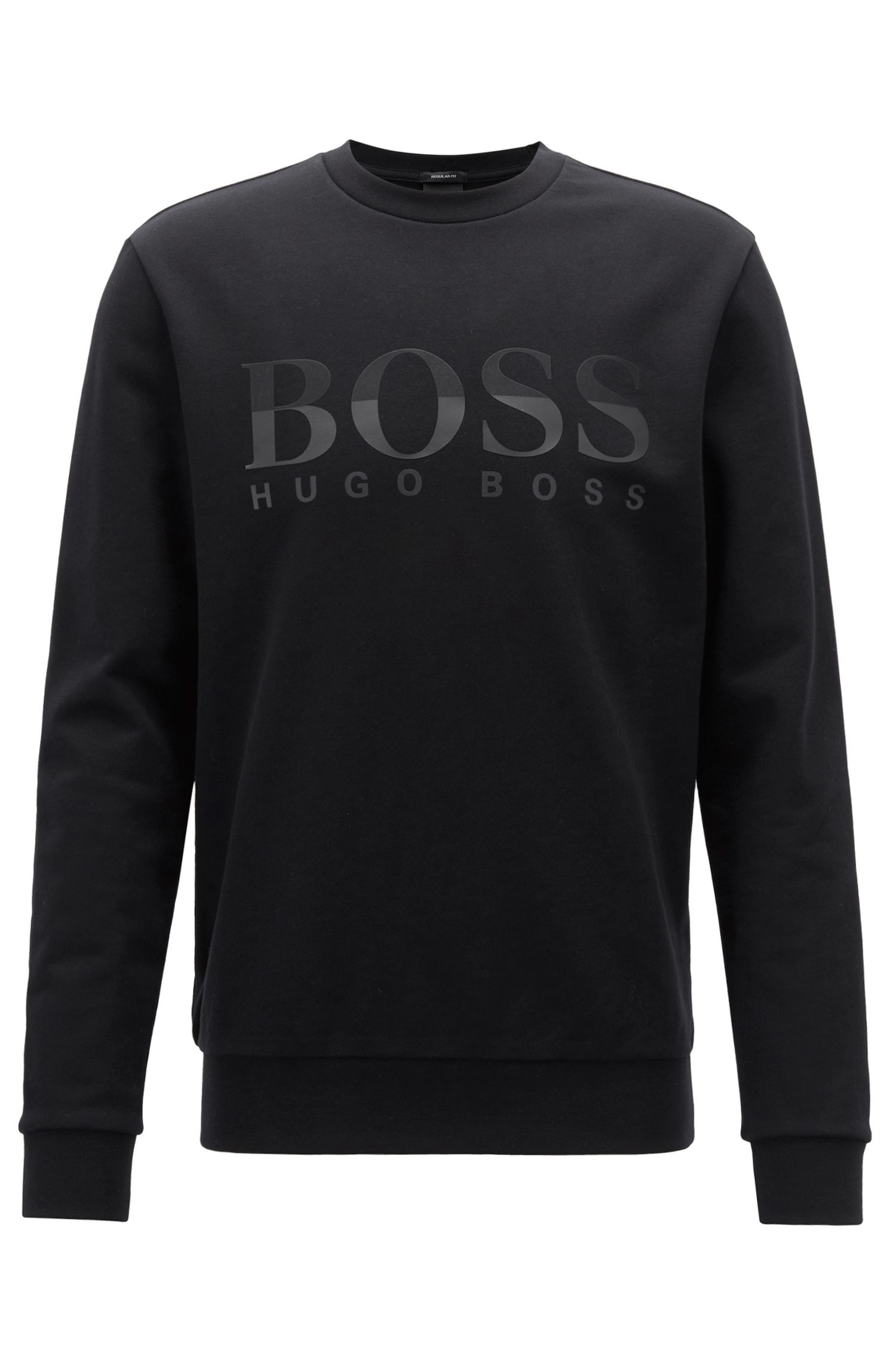 Logo sweatshirt in cotton piqué, Black