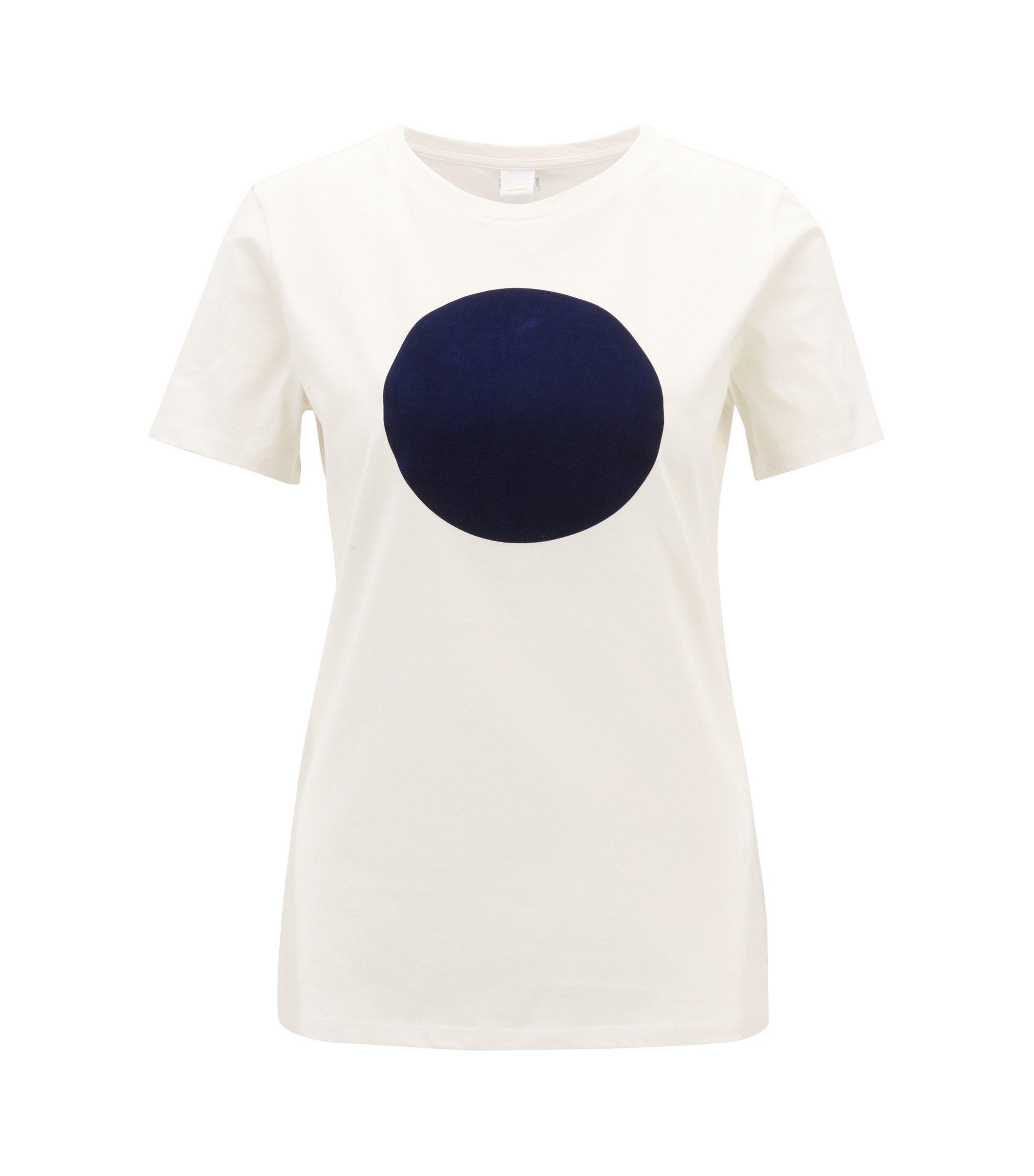 T-shirt in jersey di cotone lavato con punto stampato a rilievo, Naturale