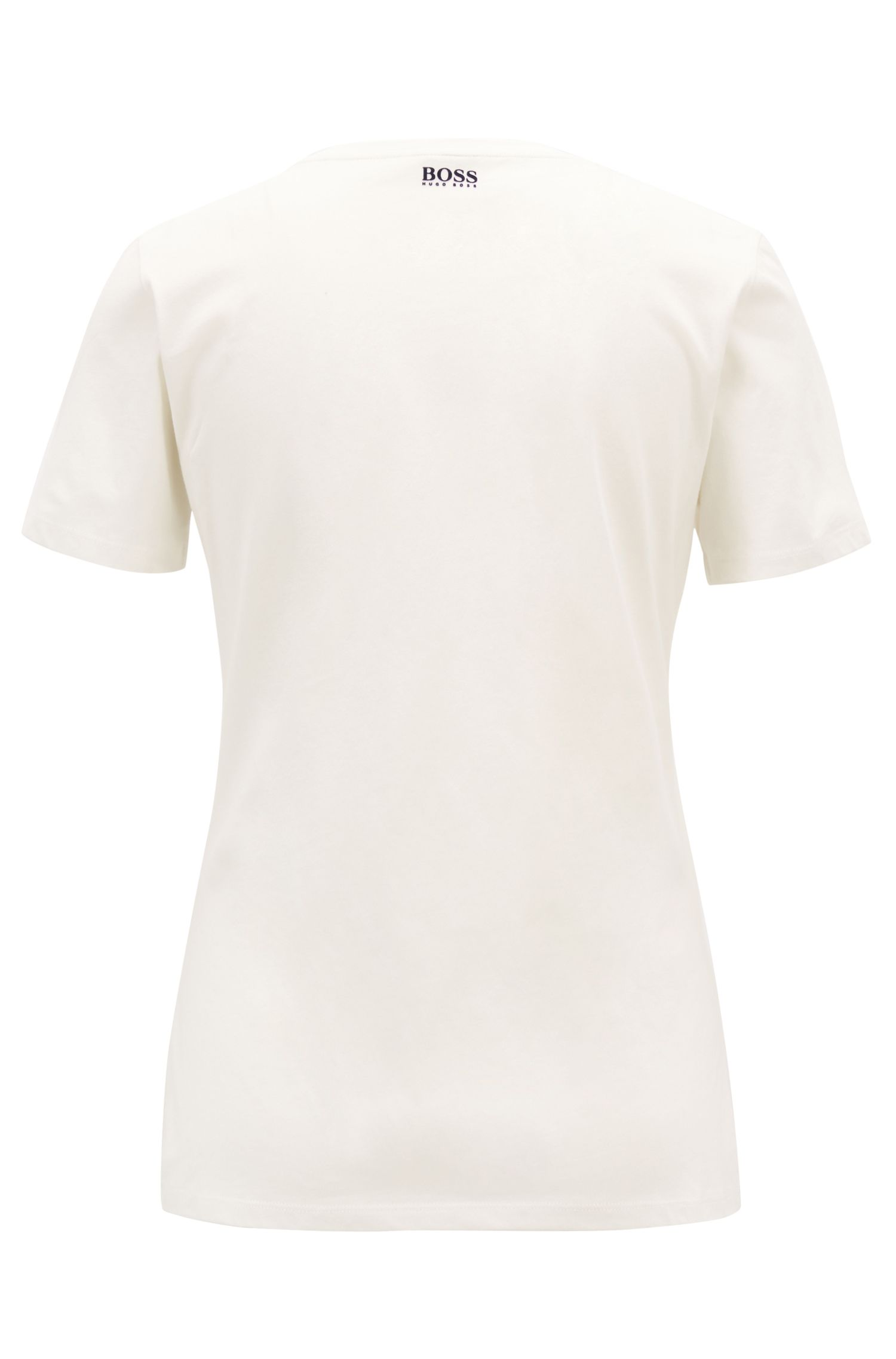 Washed cotton jersey T-shirt with flocked dot print, Natural