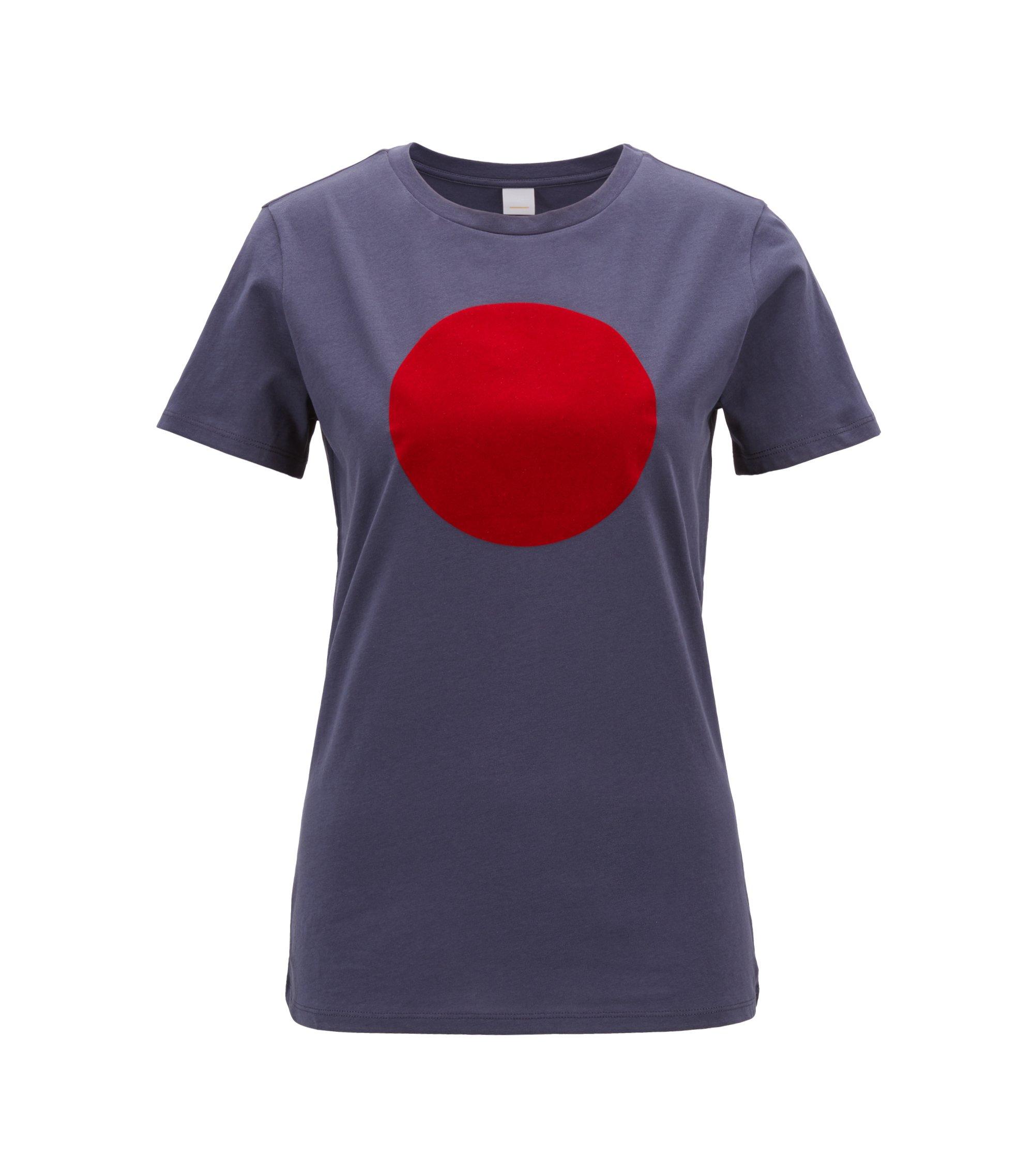 T-shirt in jersey di cotone lavato con punto stampato a rilievo, Blu scuro