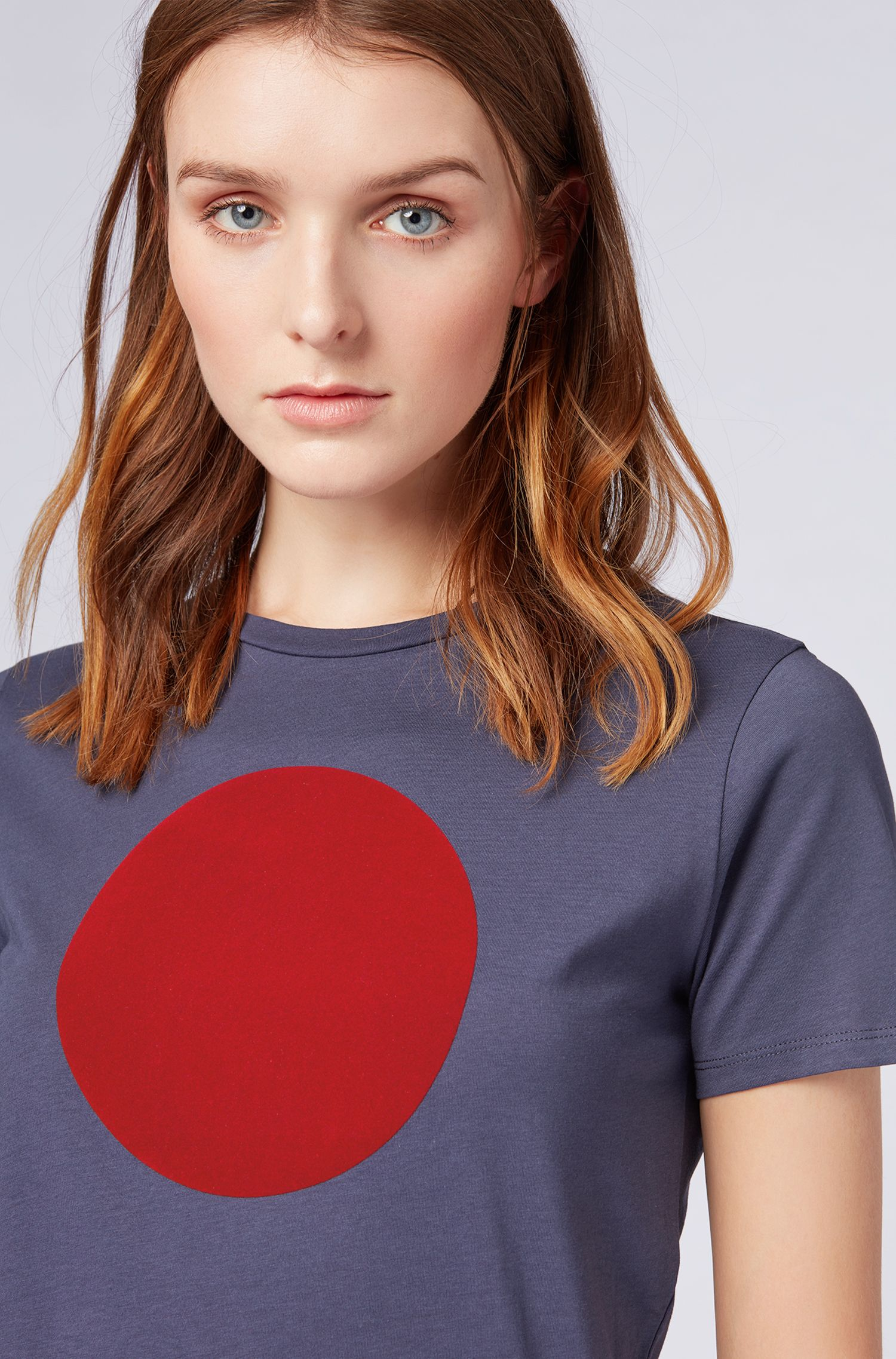 Washed cotton jersey T-shirt with flocked dot print, Dark Blue