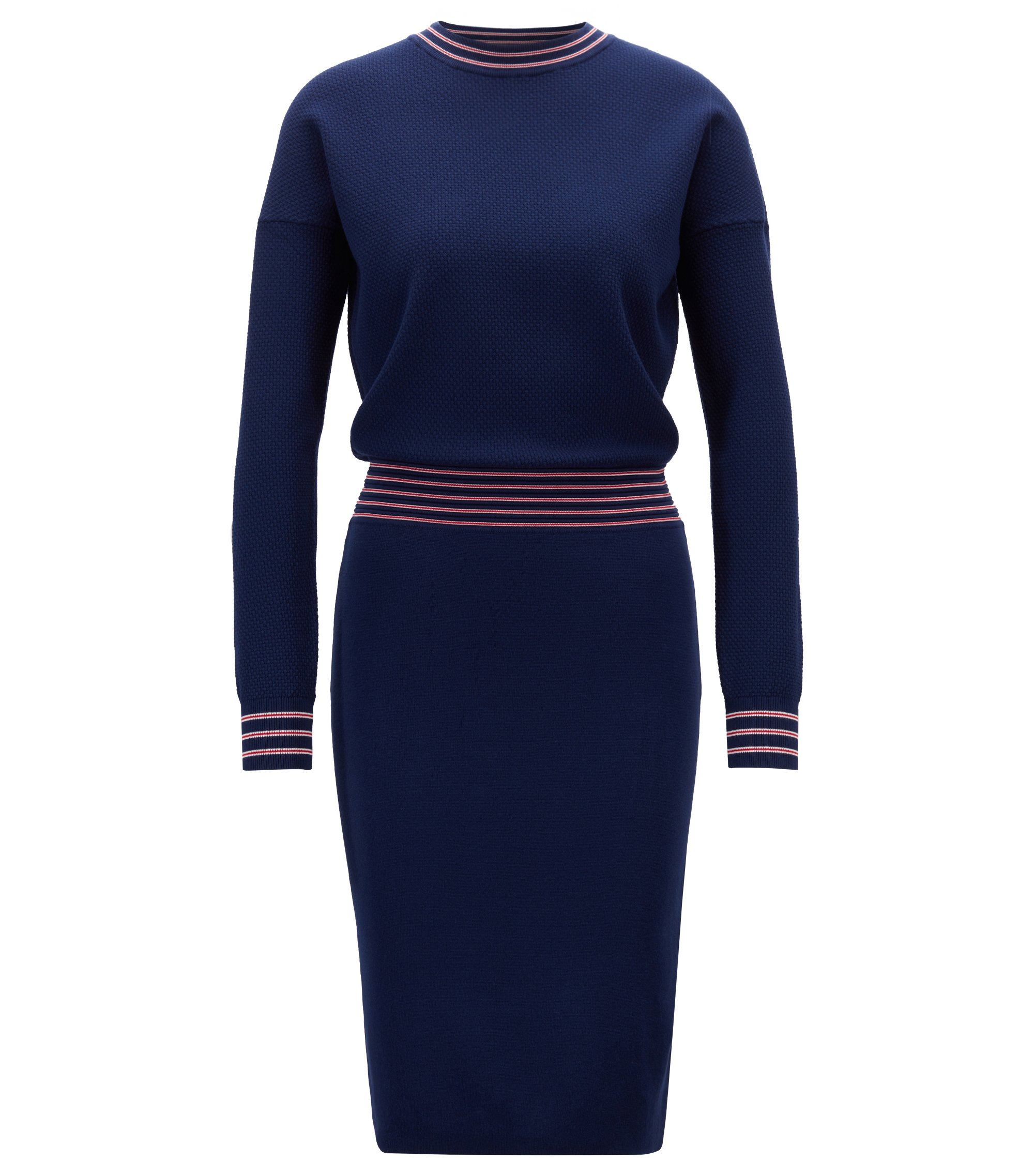 Long-sleeved knitted dress in stretch fabric, Dark Blue