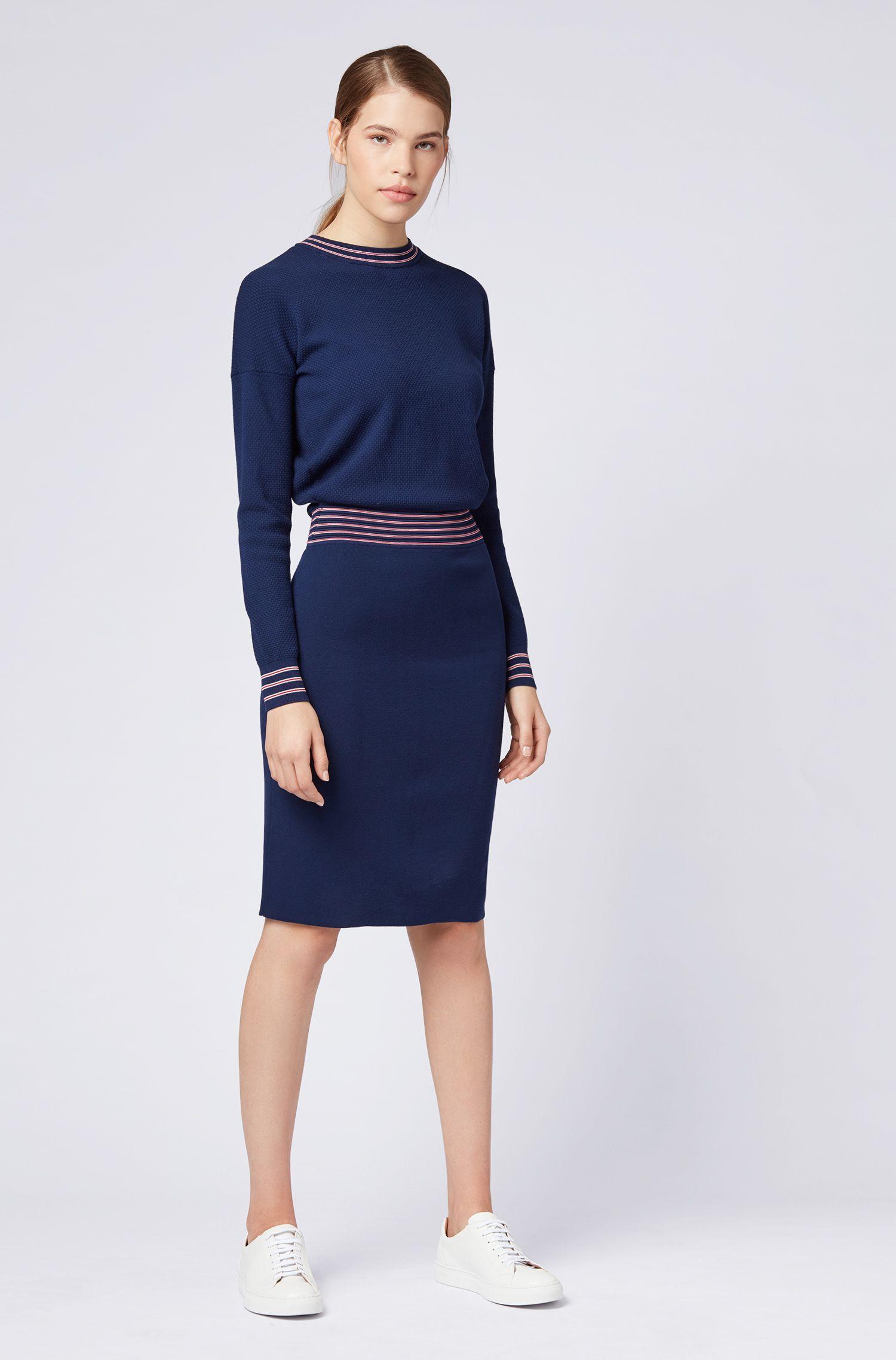 Gebreide jurk met lange mouwen van stretchmateriaal, Donkerblauw