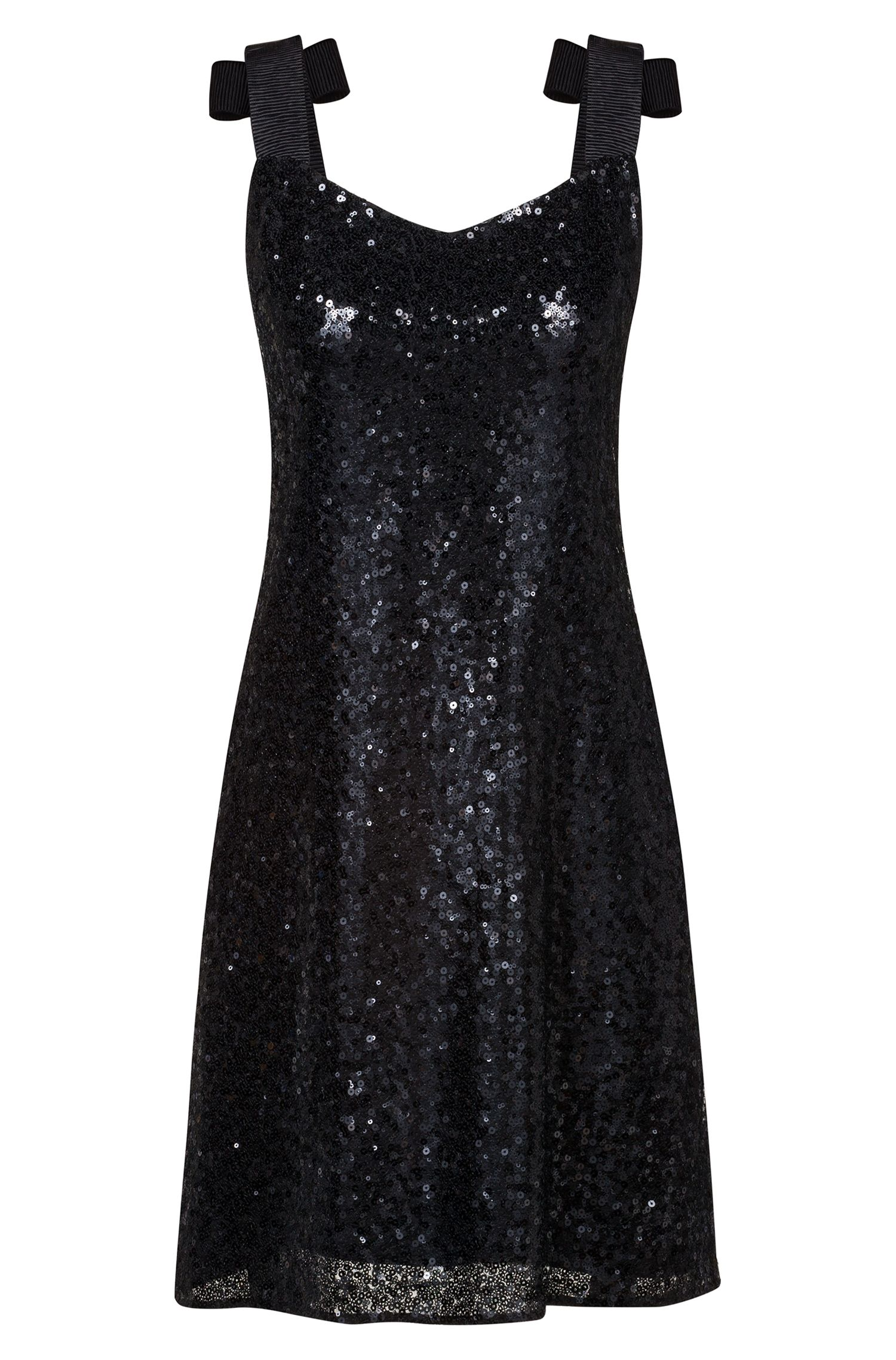 Regular-fit sequinned dress with bow-tie straps, Black