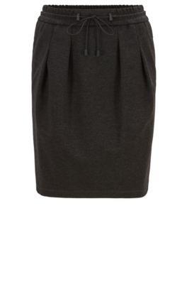 Knee-length skirt in melange jersey with drawstring waist, Dark Grey