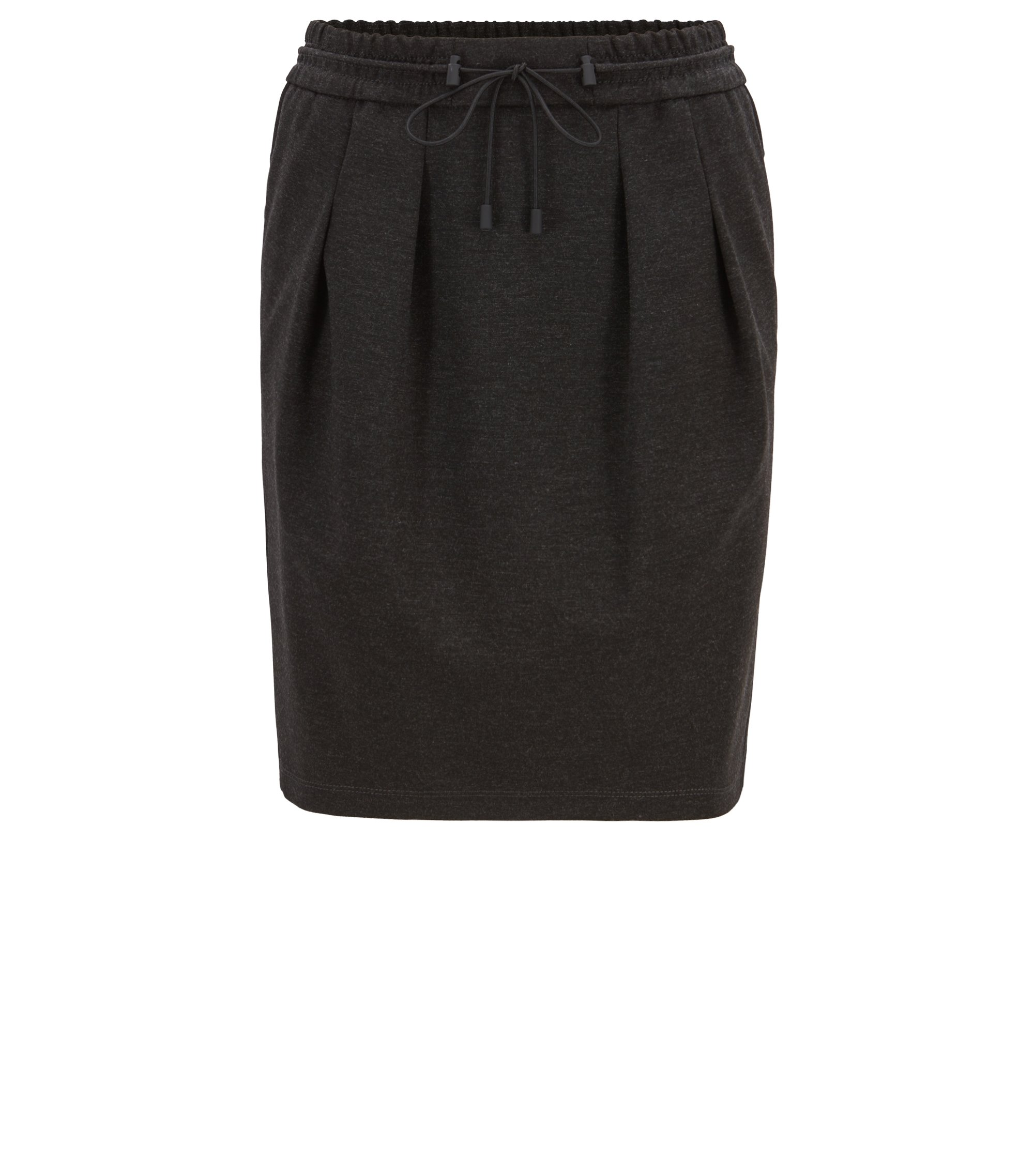 Knee-length skirt in melange jersey with drawstring waist, Dark Grey