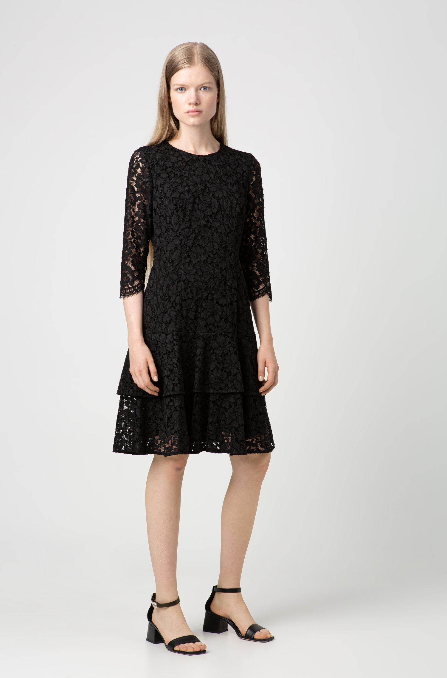 Regular-fit dress in lace with volant skirt, Patterned