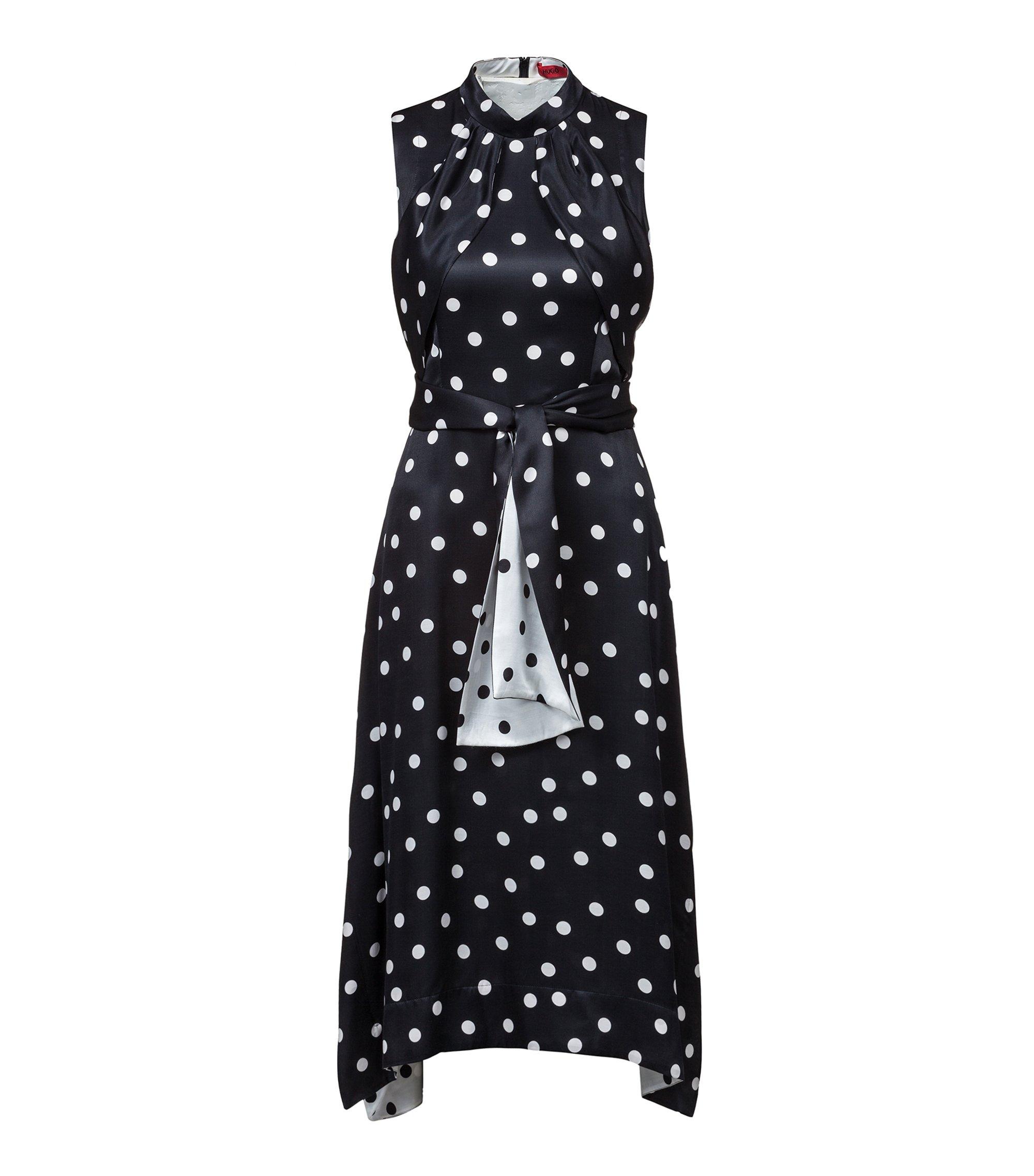 Sleeveless polka-dot dress with two-tone belt, Patterned