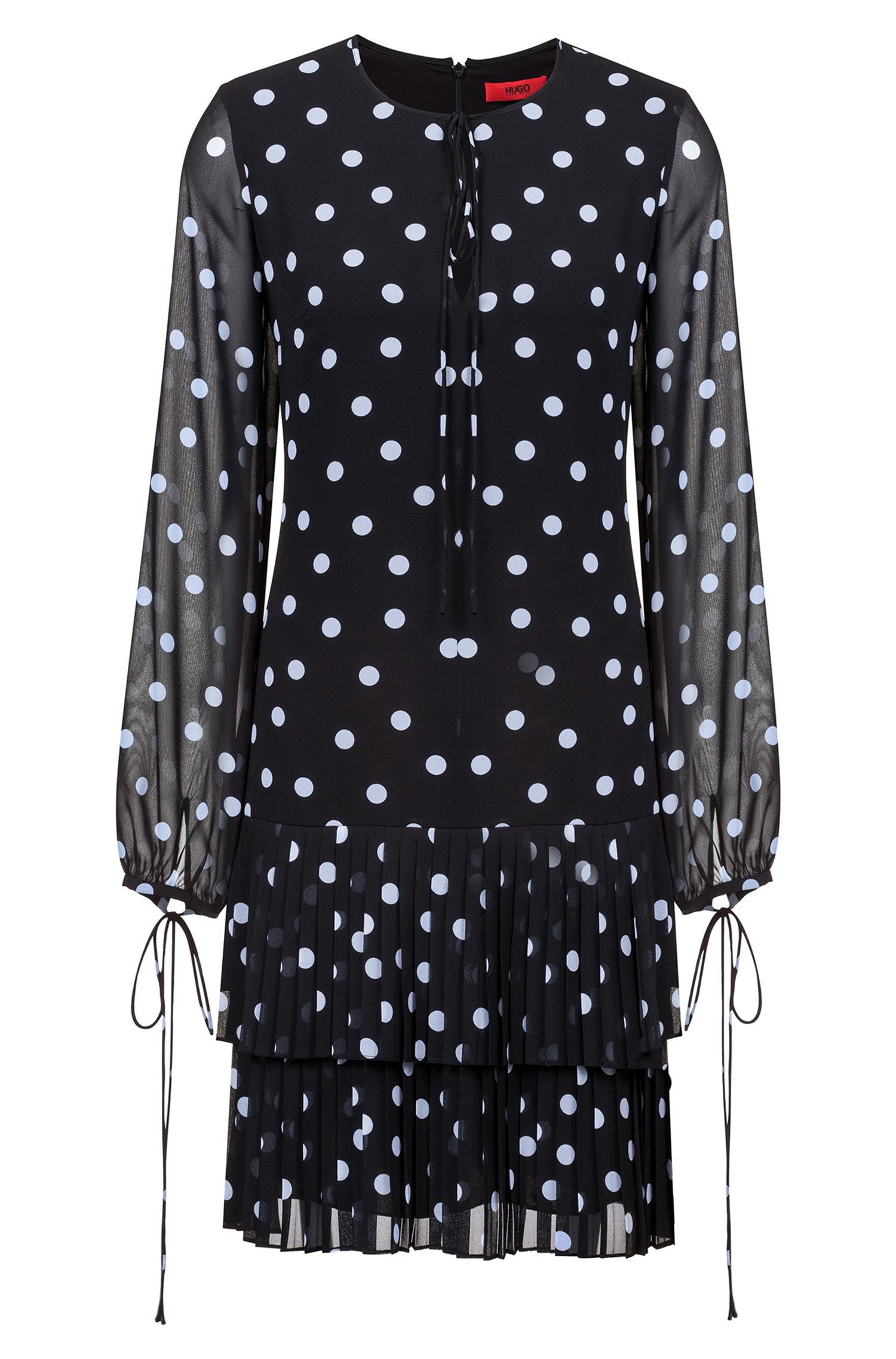 Dot-print dress with tiered plissé skirt, Patterned