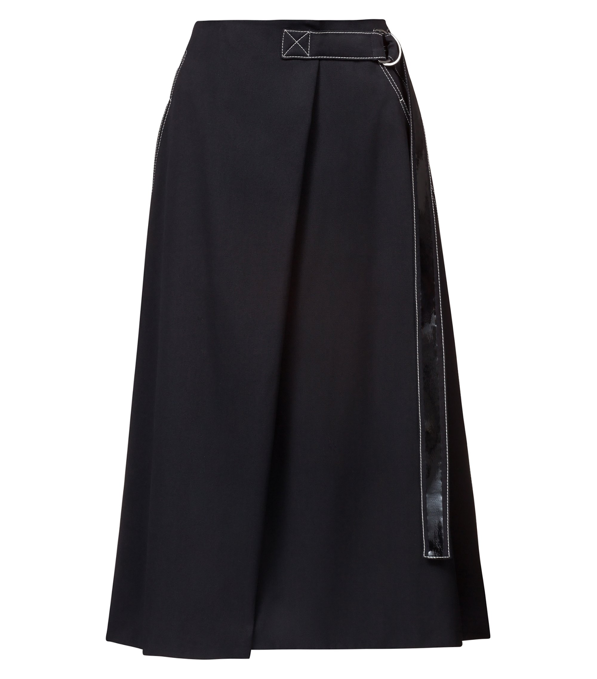 A-line skirt with trimmed belt and patch pocket, Black