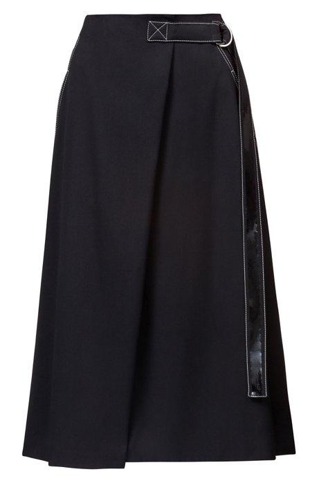 Rok in A-lijn met afgewerkte ceintuur en een opgezette zak, Zwart