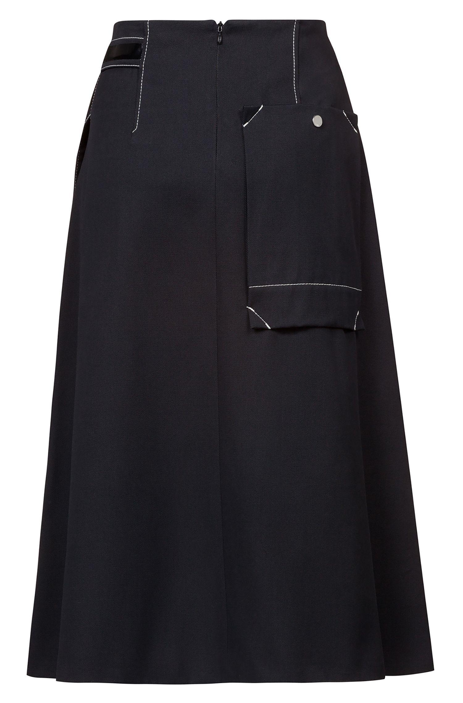 Falda de corte evasé con cinturón ribeteado y bolsillo cosido, Negro