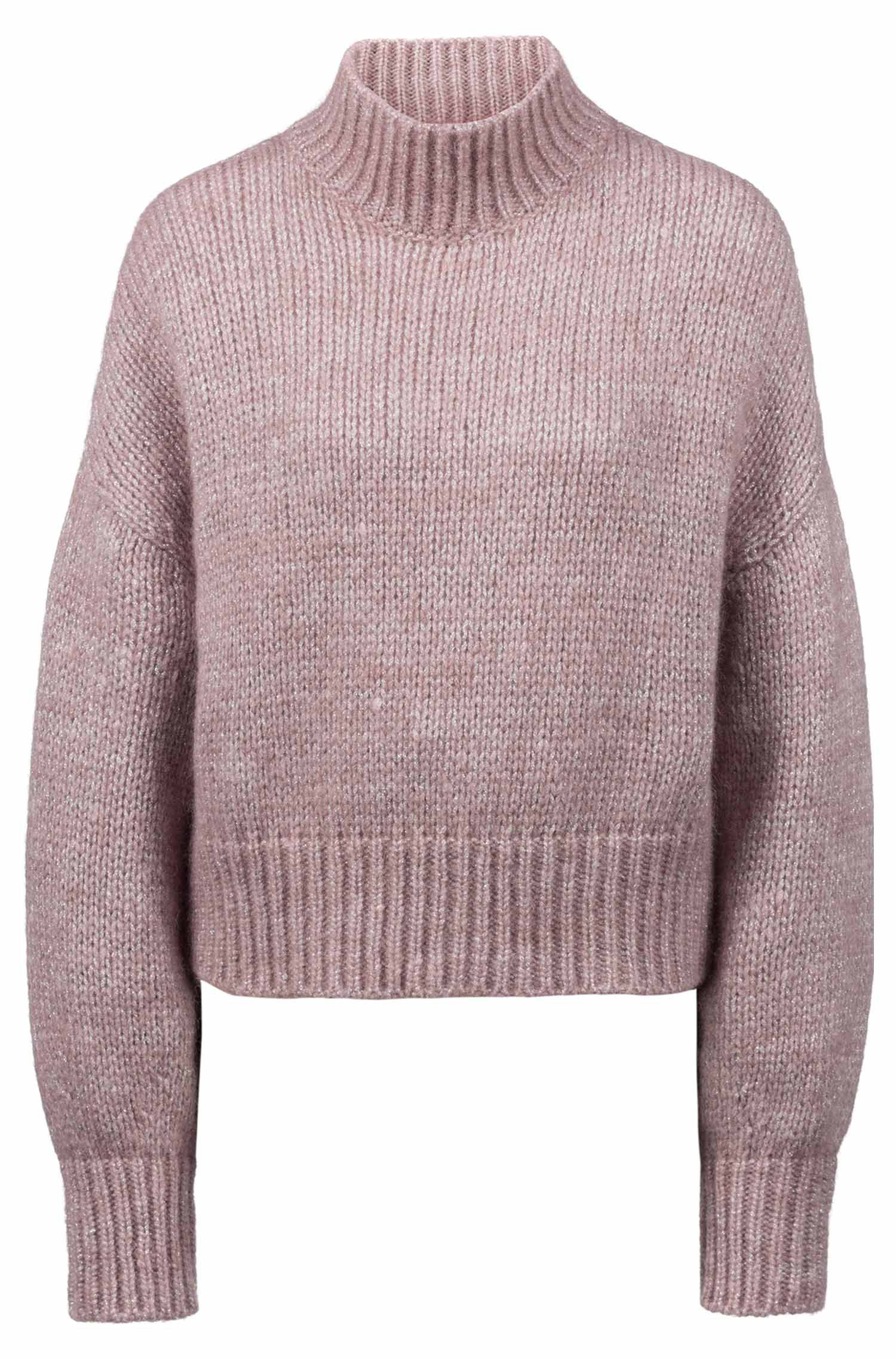 Cropped sweater in knitted fabric with balloon sleeves, Pink