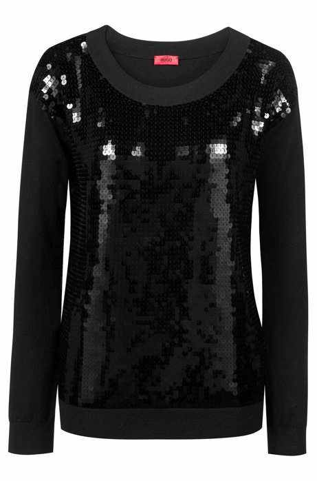 Sequinned sweater with boat neckline, Black