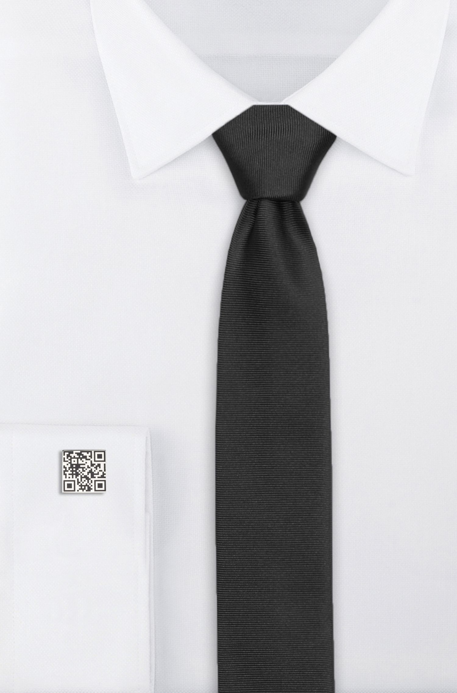 Polished-metal cufflinks with QR-code motif, Silver