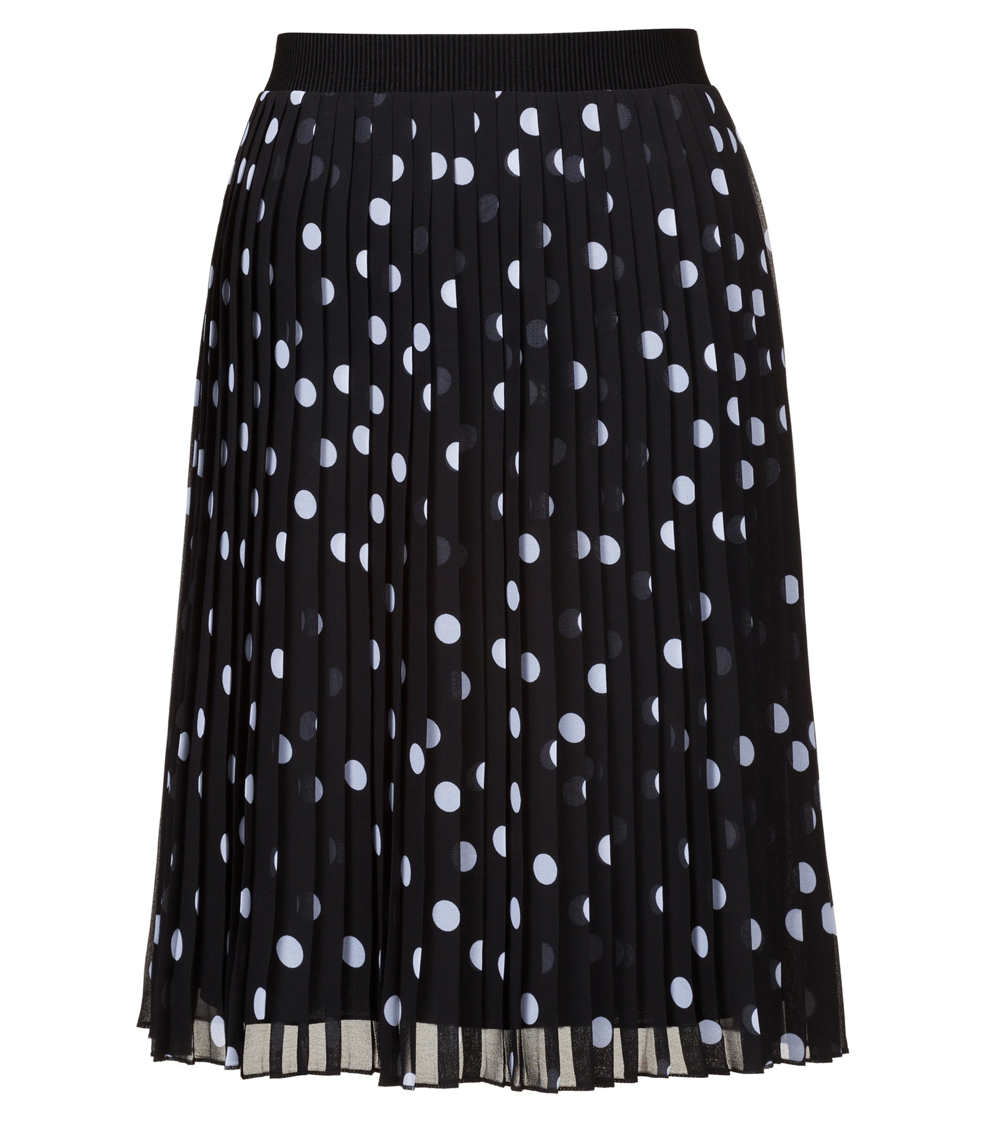 Spot-print plissé skirt with elasticated waistband, Patterned