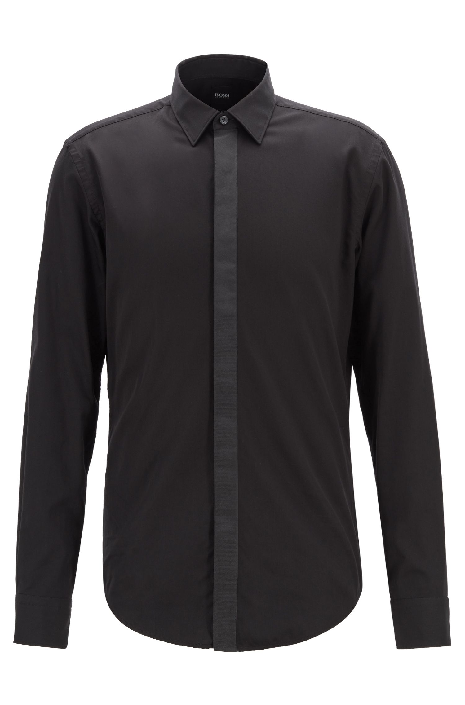 Slim-fit shirt in cotton satin with concealed placket, Black