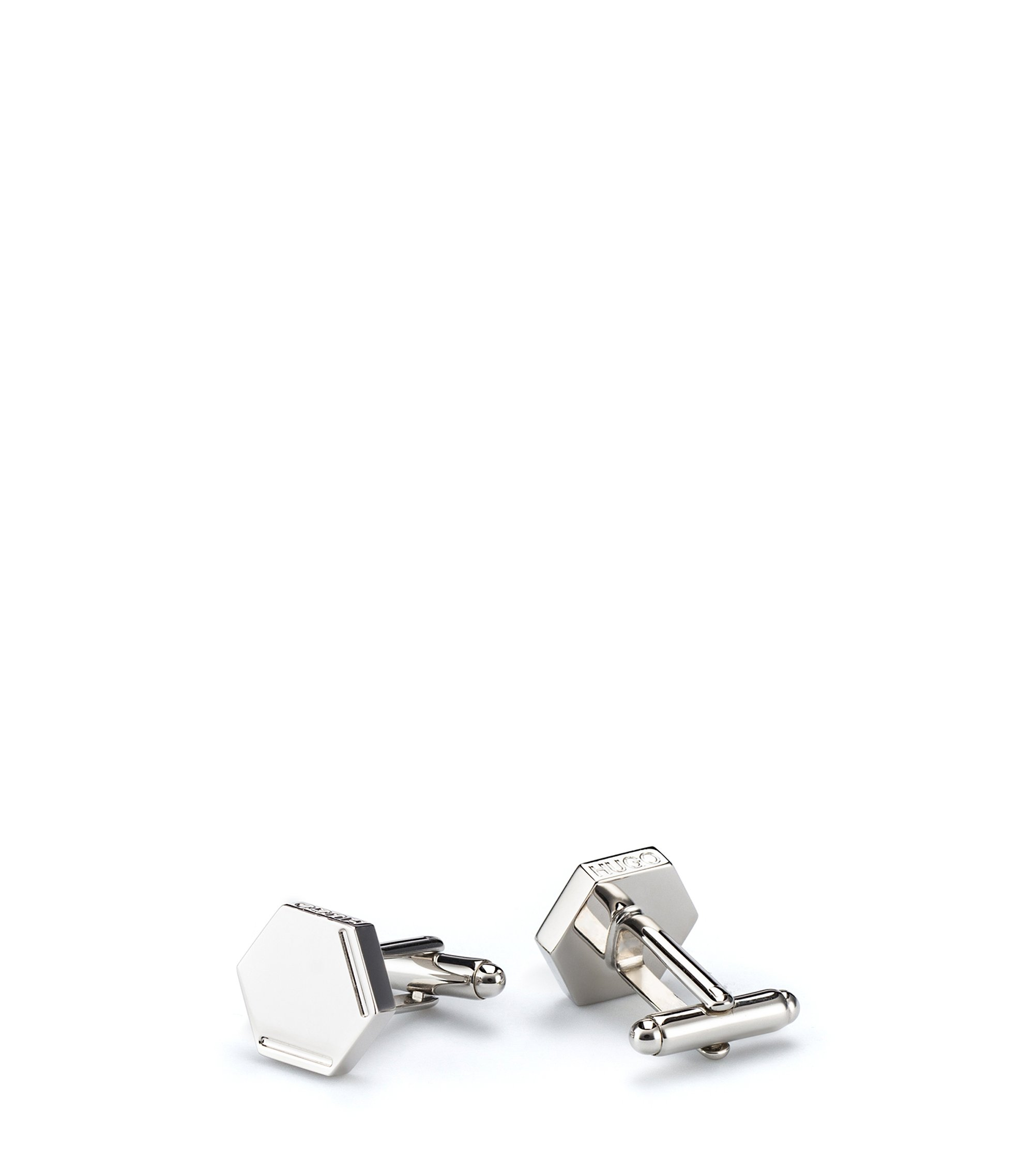 Hexagonal cufflinks in highly polished brass with engraved logo, Silver