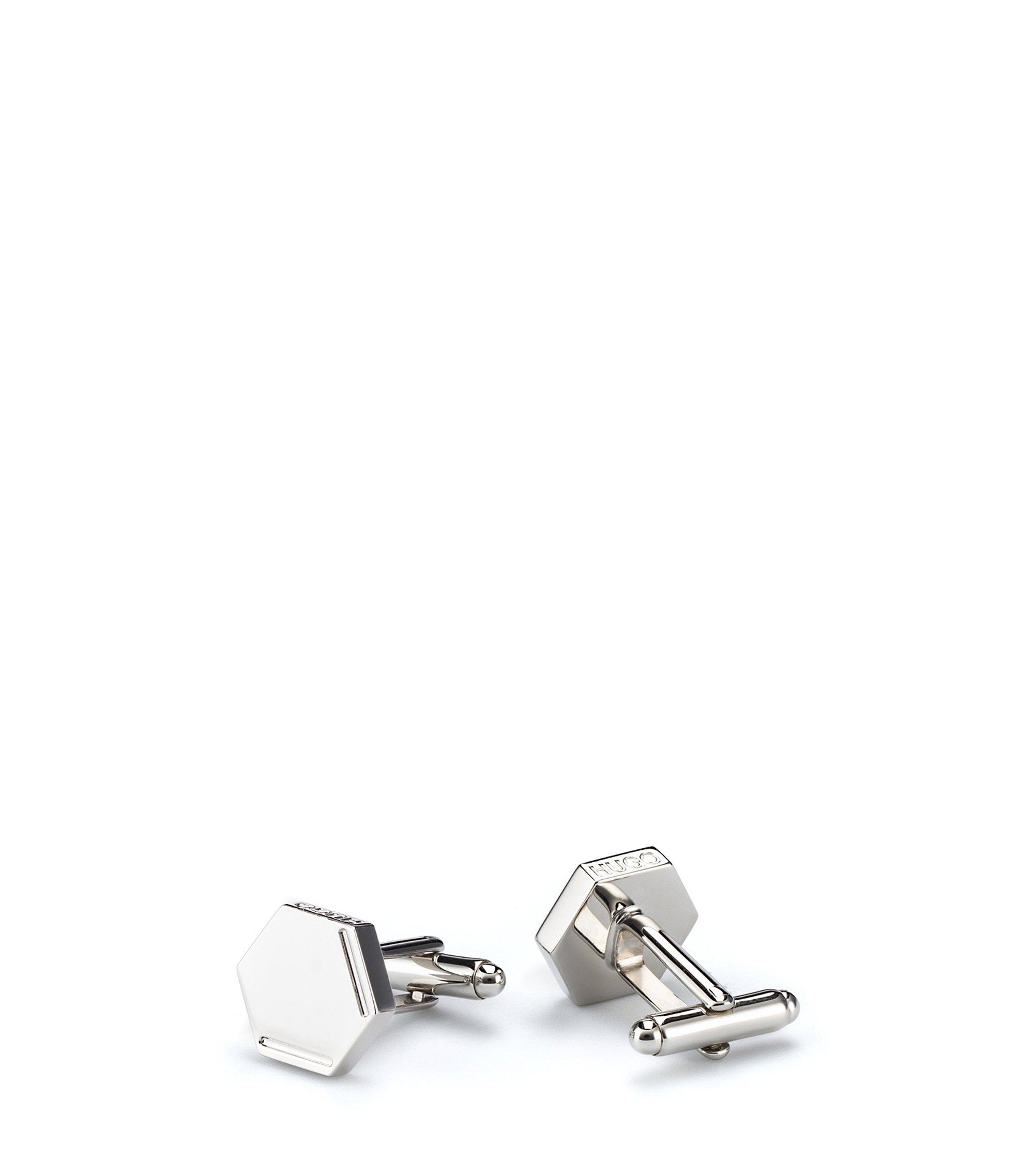 Gemelli esagonali in ottone lucidissimo con logo inciso, Argento