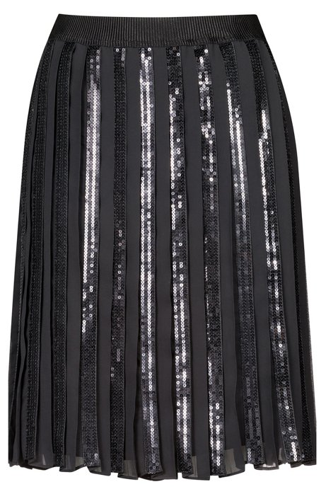 A-line plissé skirt with sequinned panels, Black