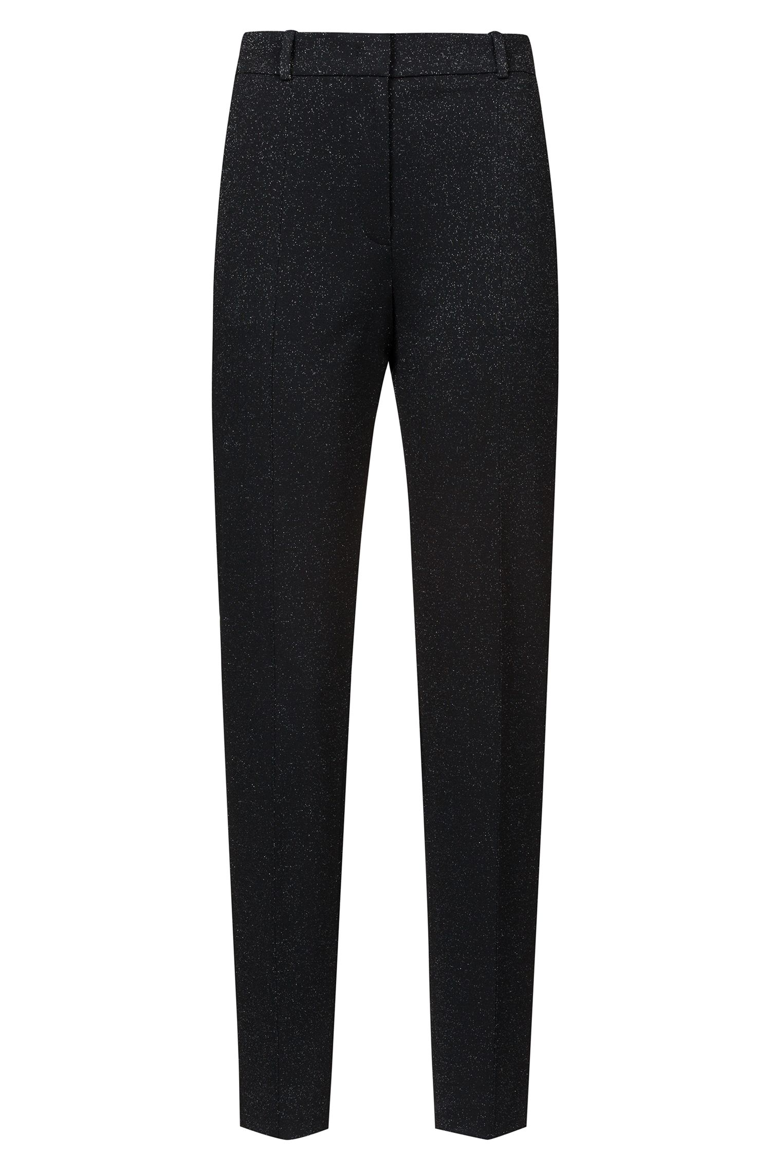 Regular-fit trousers in sparkly stretch-jersey fabric, Patterned