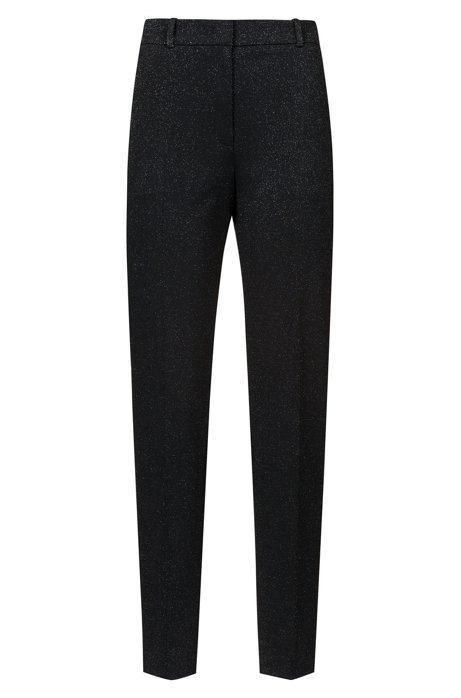 Pantaloni regular fit in jersey elasticizzato luccicante, A disegni