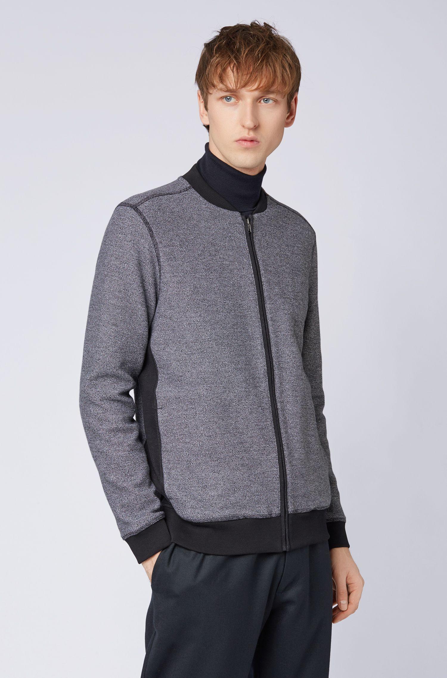 Felpa in cotone lavorato con zip integrale e colletto stile college, Blu