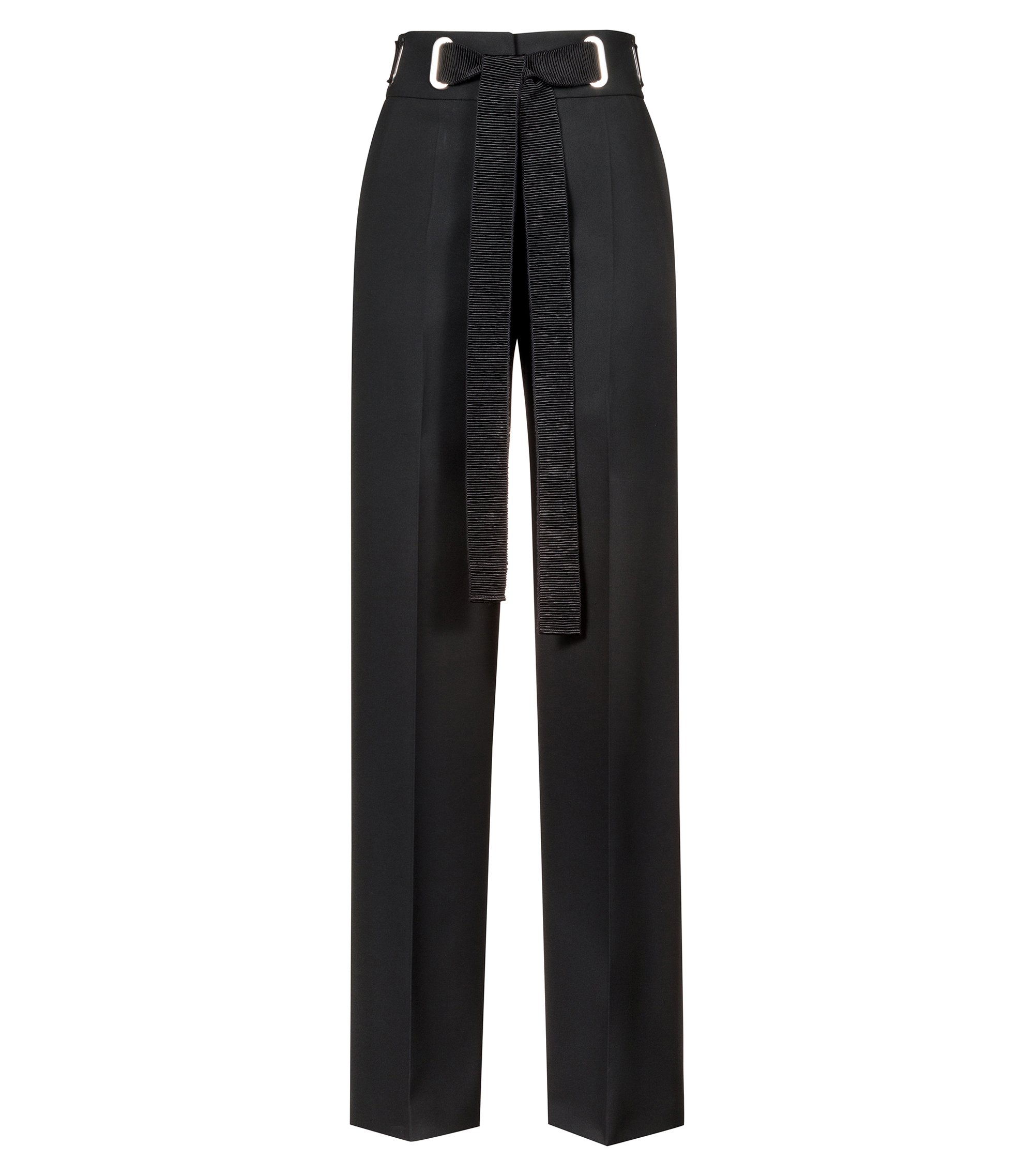 Wide-leg trousers with oversized textured ribbon belt, Black