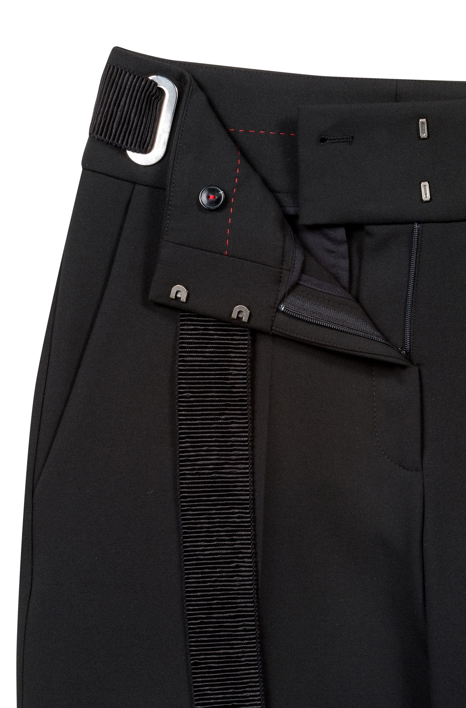 Pantalon large à grande ceinture ruban texturée, Noir