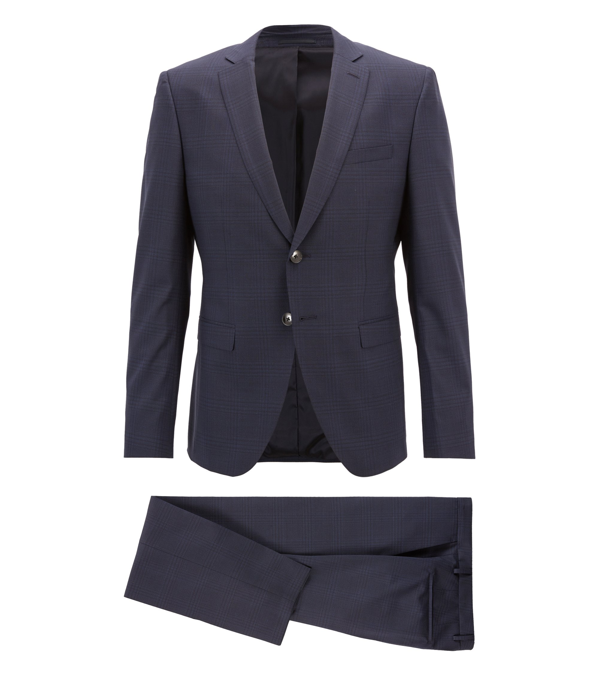 Extra-slim-fit virgin-wool suit with plain check, Dark Blue